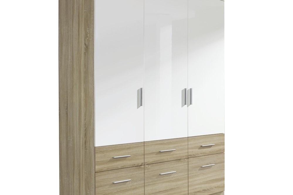 Drehtür-Kombischrank CELLE-EXTRA weiß / Eiche Sonoma 136 x 197 x 54 cm