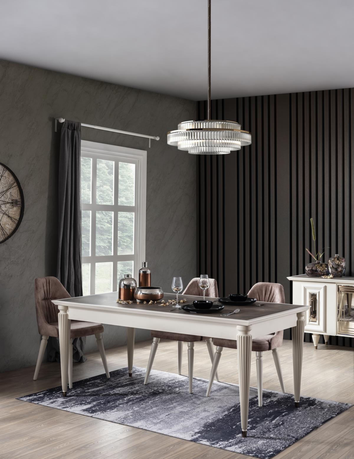 Weltew Esszimmertisch mit vier Stühlen Nirvana Creme