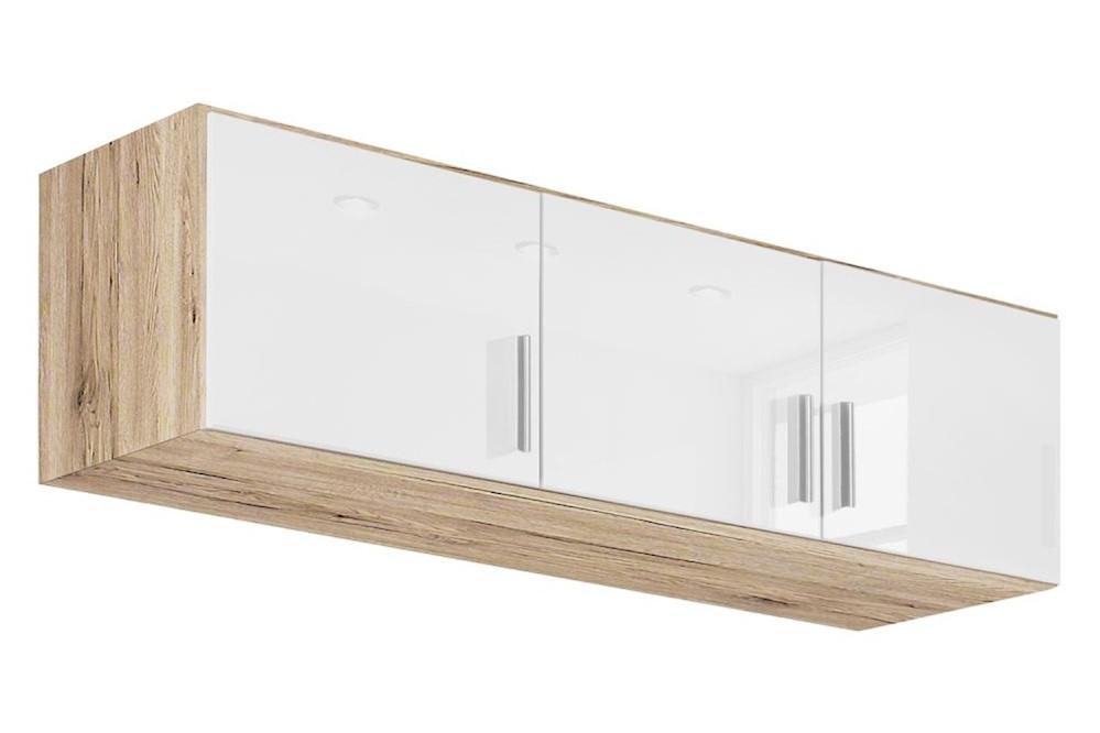 Schrankaufsatz CELLE weiß / Eiche Sonoma 136 x 39 x 54 cm