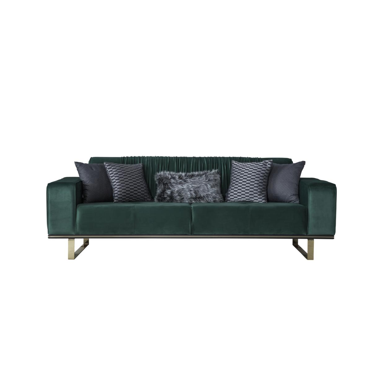 Weltew Sofa David mit Schlaffunktion 3-Sitzer in Grün