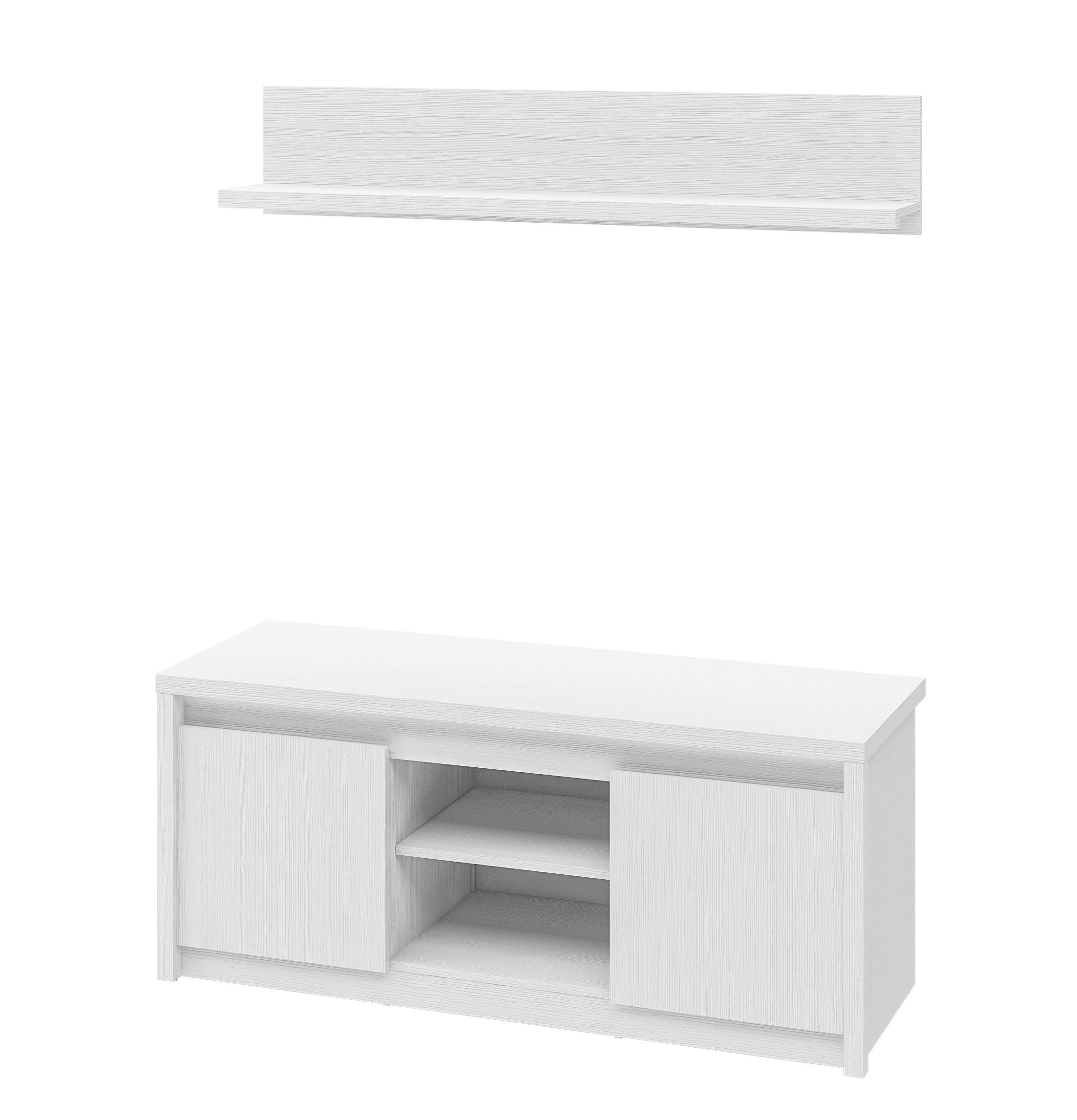 Neman TV-Lowboard mit Wandboard Palermo Weiß