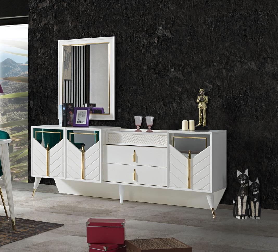 Lidya weißes Sideboard Piramit mit Schubladen & Türen