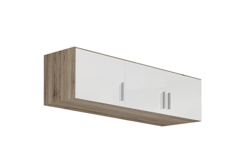 Schrankaufsatz CELLE weiß / Eiche Sanremo 136 x 39 x 54 cm