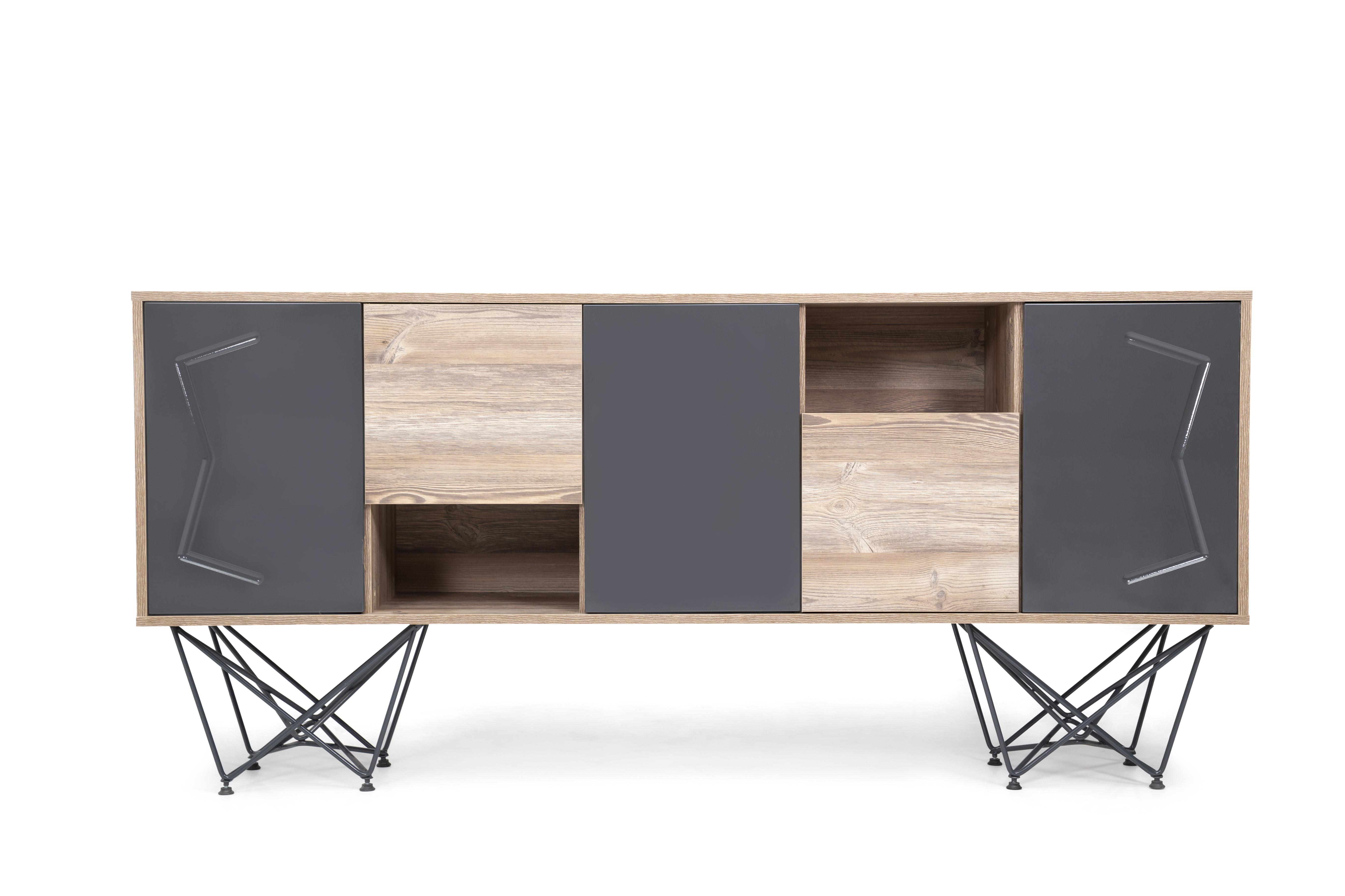 Ovali Sideboard 5- türig Parantez Holzoptik