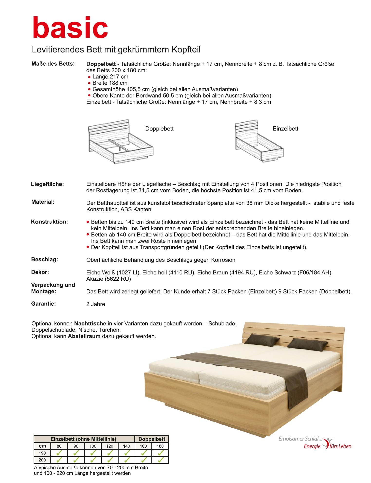 Schwebendes Bett Rielle Basic 120x190 Akazie