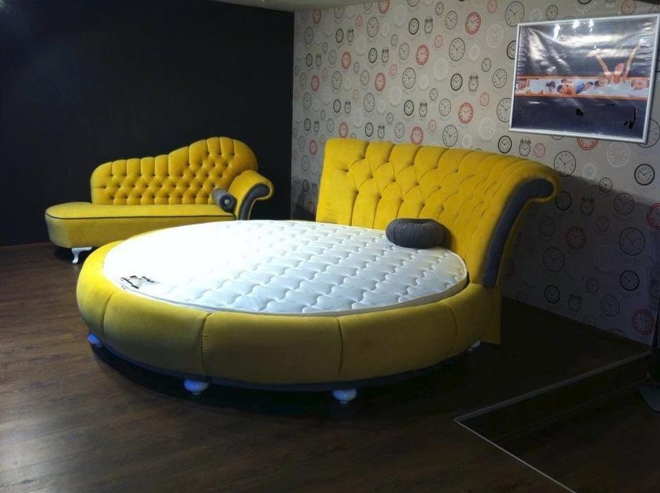 Rundes Bett in Gelb inklusive Matratze Divani