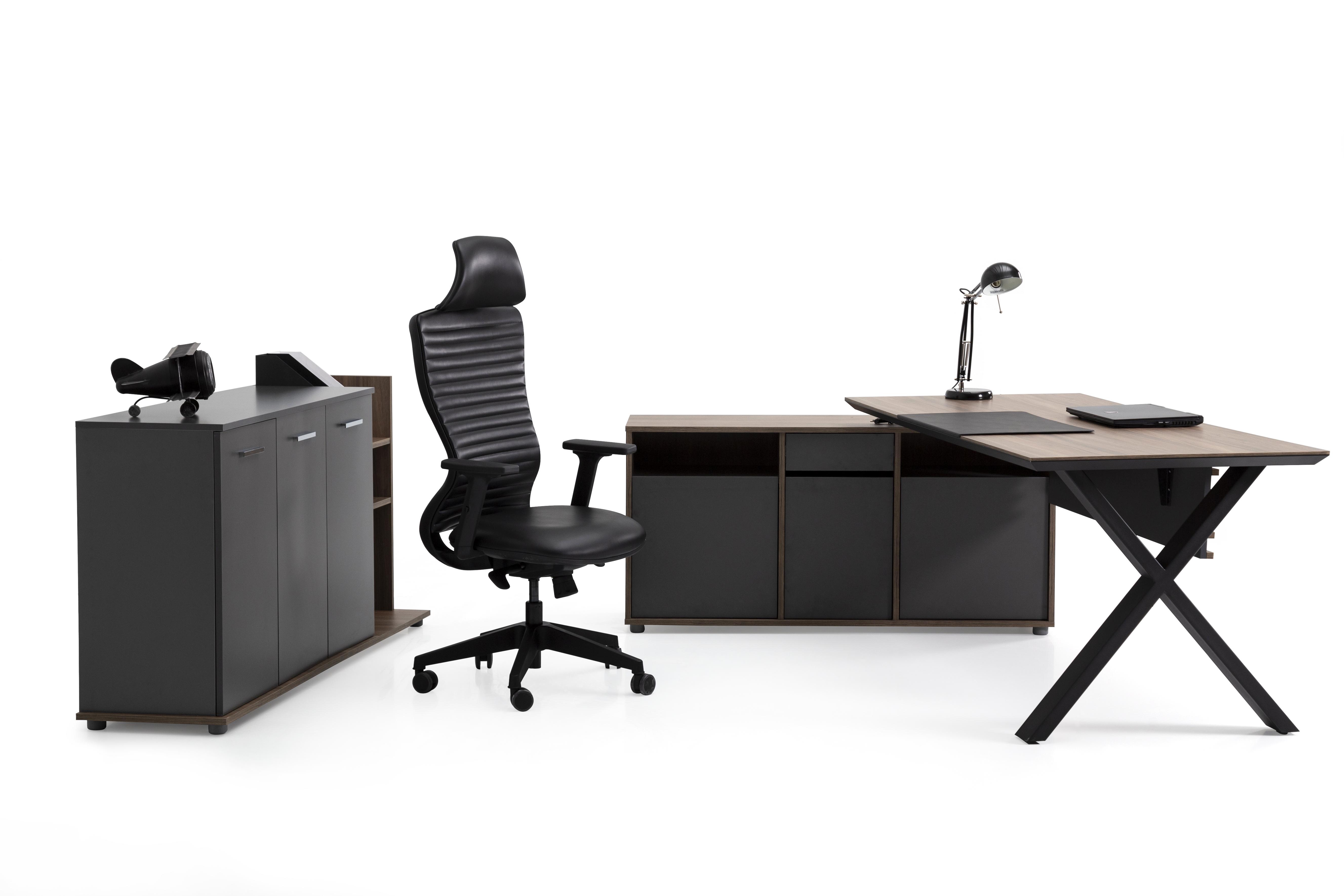 Ovali Schreibtisch Set 3-teilig Vix Anthrazit 180x80 cm