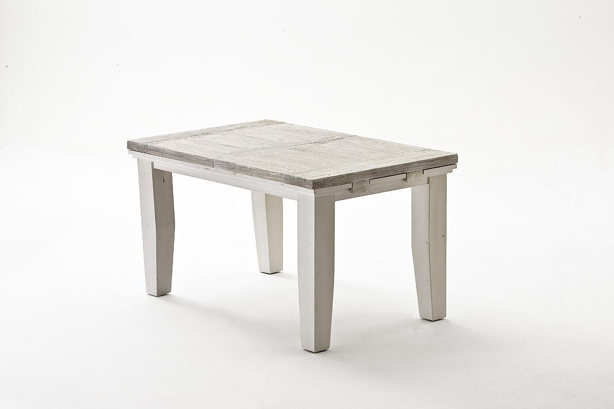 Esstisch Olio ausziehbar 140x90 cm Kiefer Massiv Weiß