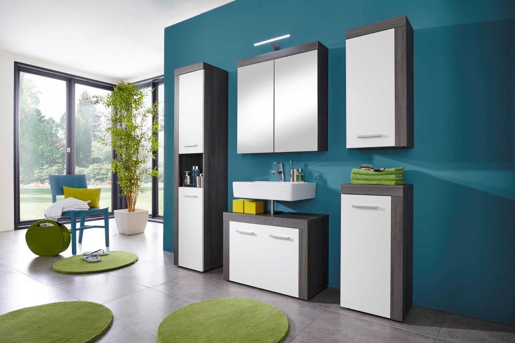 Badezimmer Kollektion Colombo 5-teilig in Weiß/Silber