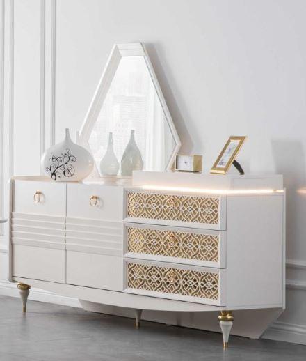 Lidya Sideboard Pena mit Spiegel in Weiß Gold