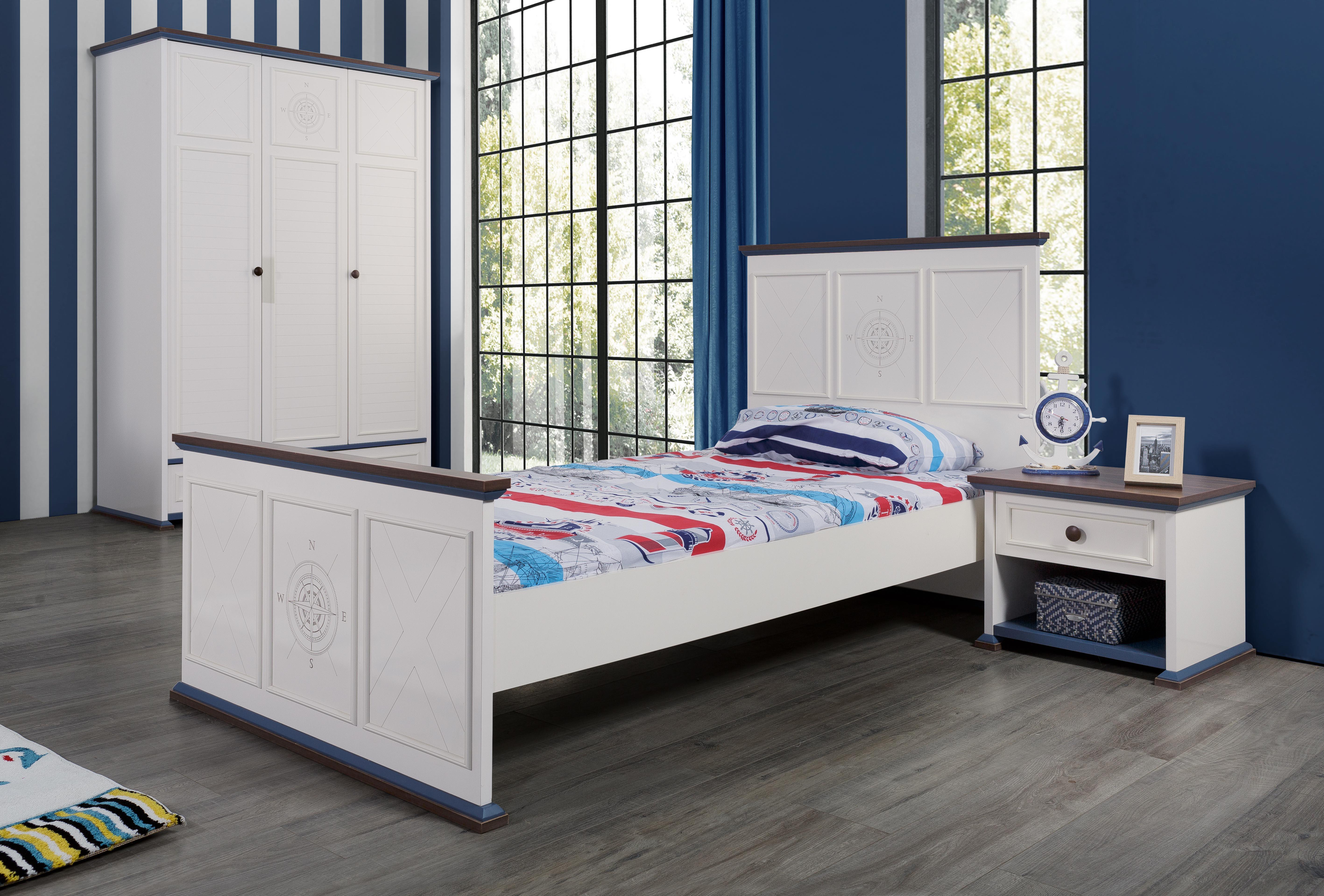 Titi Jugendzimmer komplett in Weiß Marine 3-teilig
