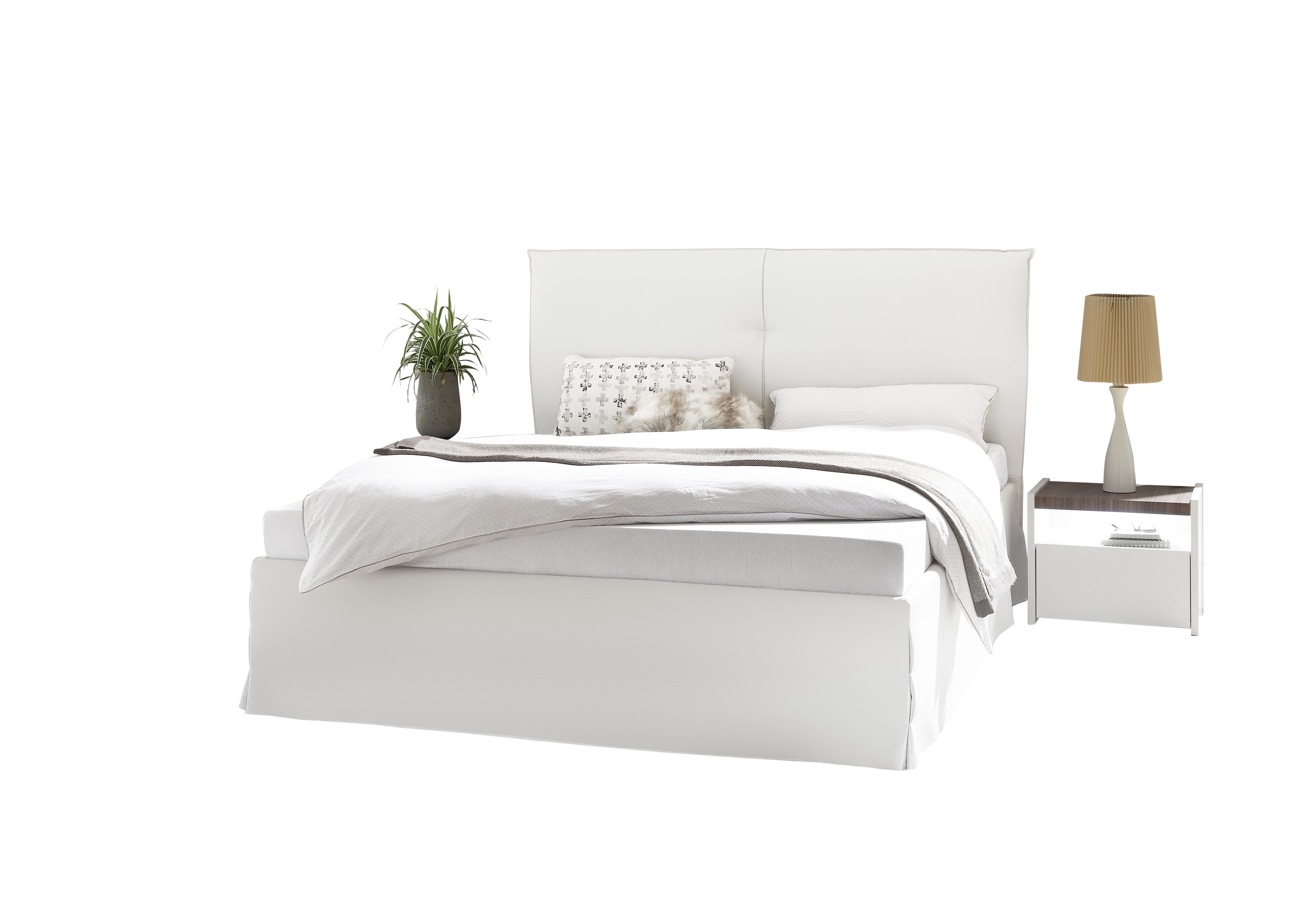 Kunstlederbett in Weiß Luana Mantova 160x200