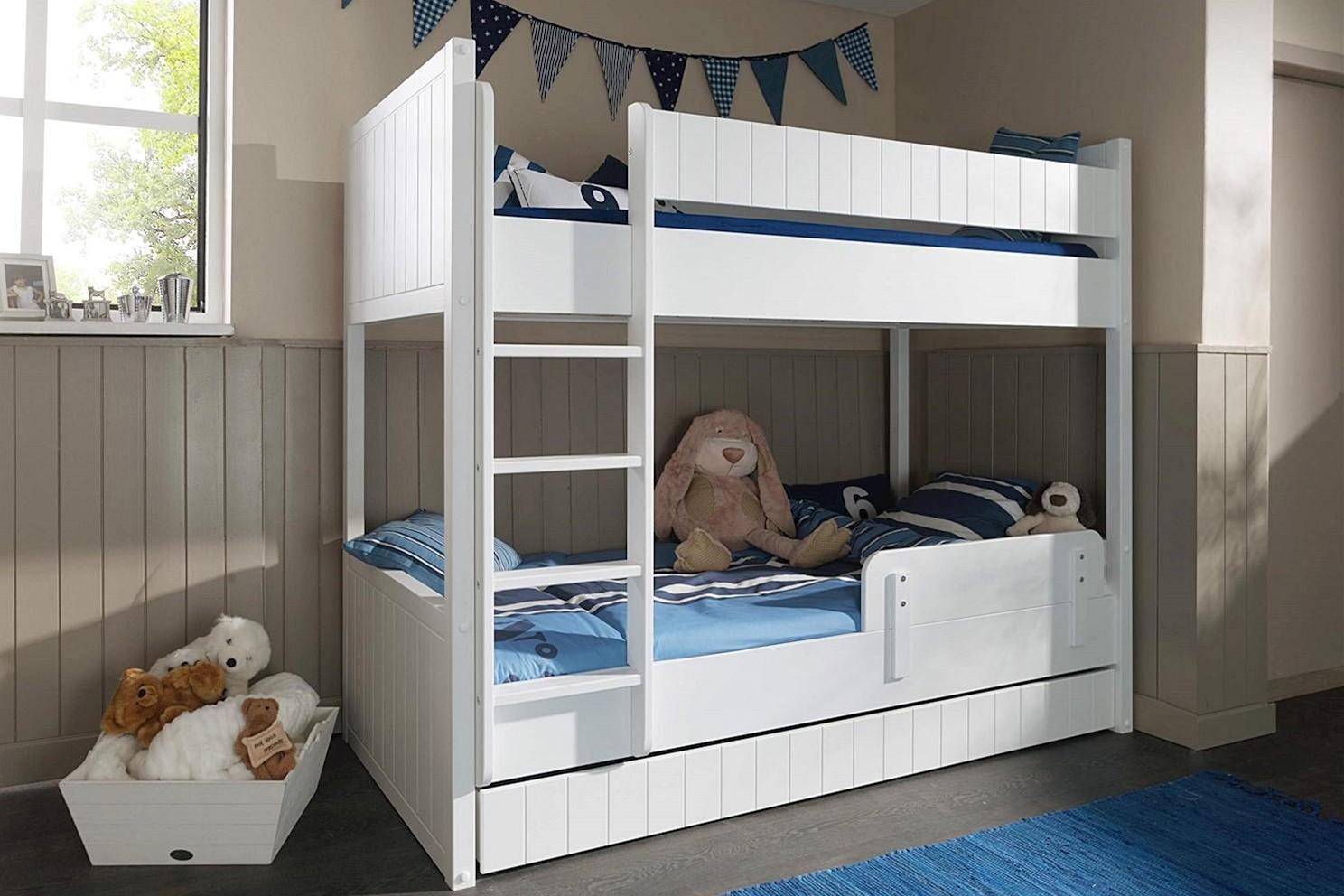 Etagenbett Luca weiß mit Bettkasten