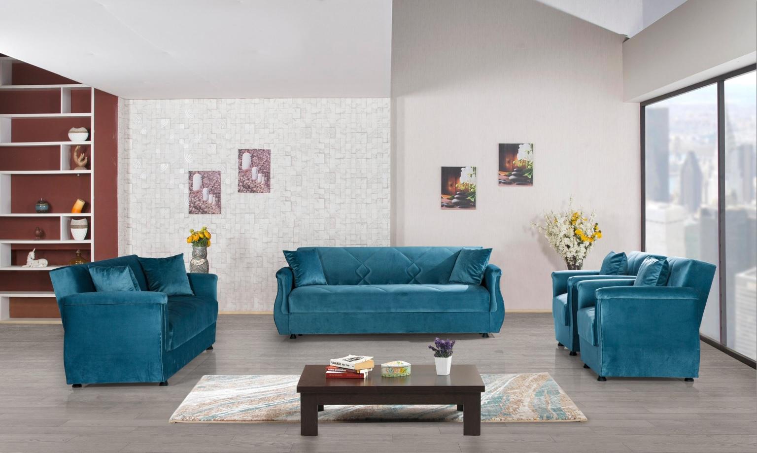Windy Sofa Garnitur mit Schlaffunktion in Blau Buket