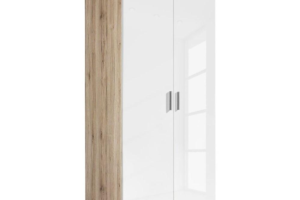 Drehtürenschrank CELLE weiß / Eiche Sonoma 91 x 210 x 54 cm
