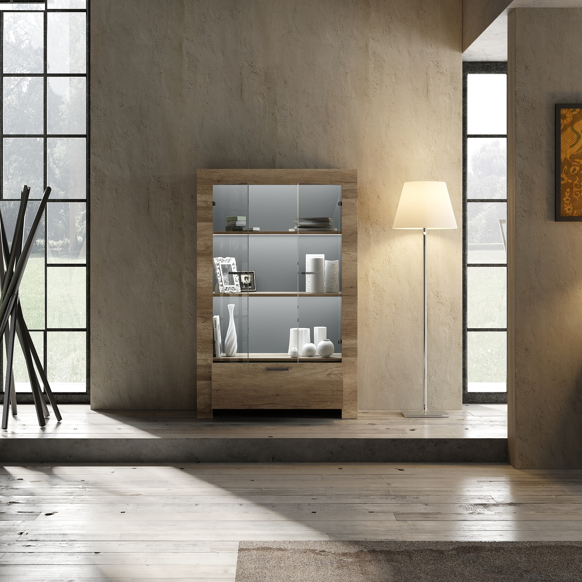 Italien Design Vitrine Canyon Oak Grace 2-türig