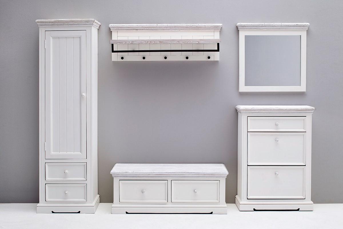 Olio Garderobenkollektion 5-teilig in Kiefer Weiß massiv