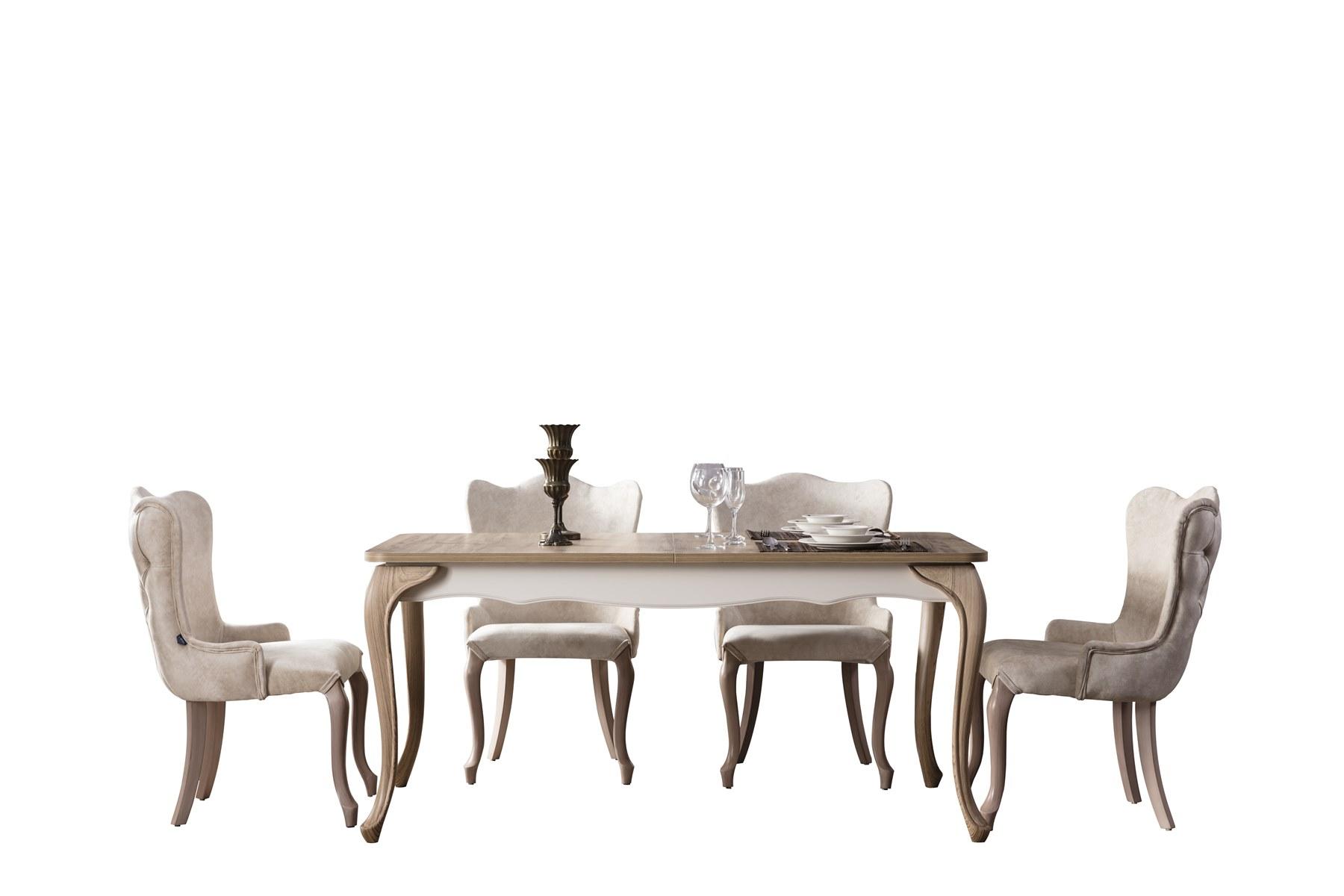 Weltew Esstisch ausziehbar mit 6 Stühlen Balat in Creme