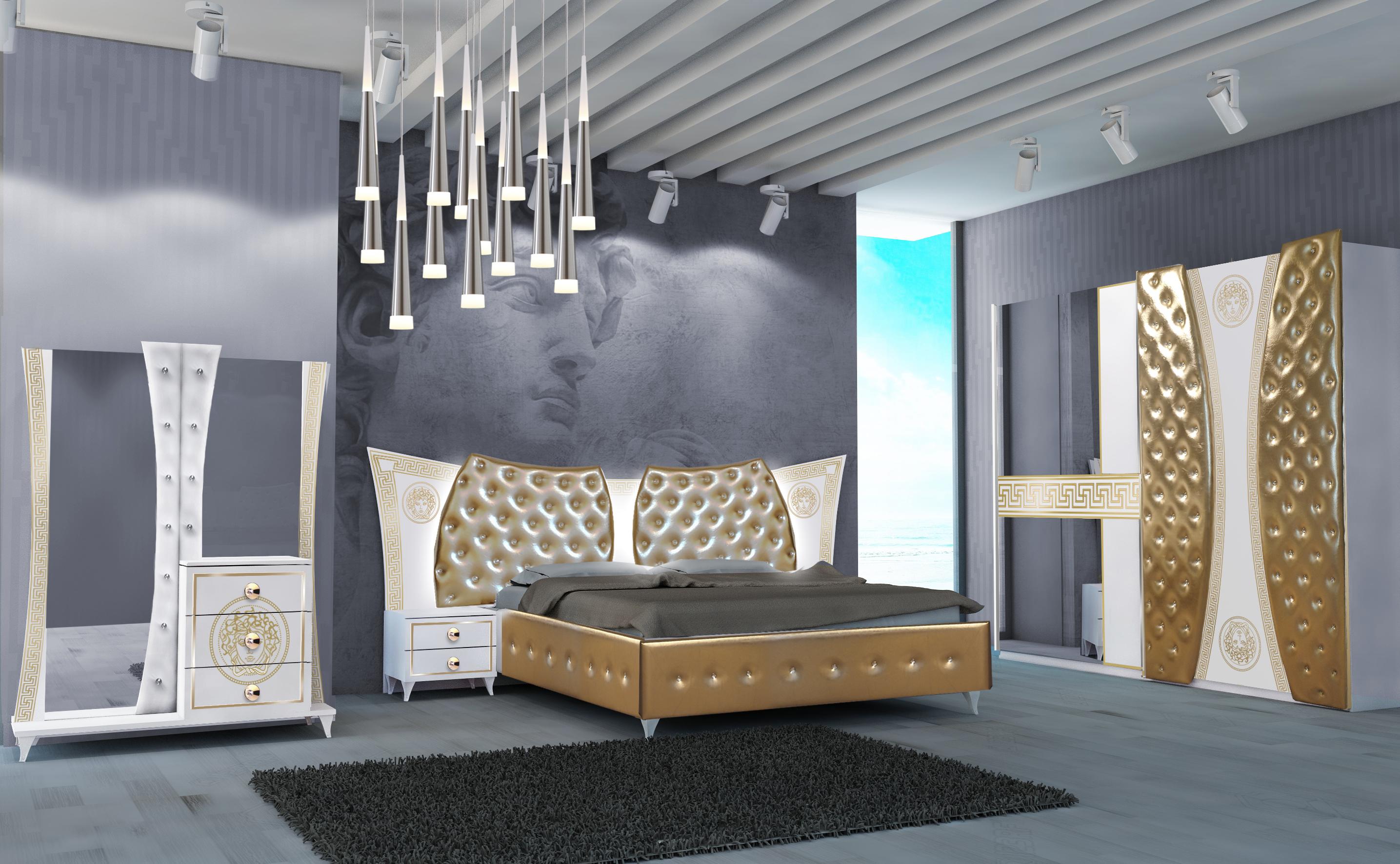 Schlafzimmer Delizia 4-teilig Weiß/Gold 160x200