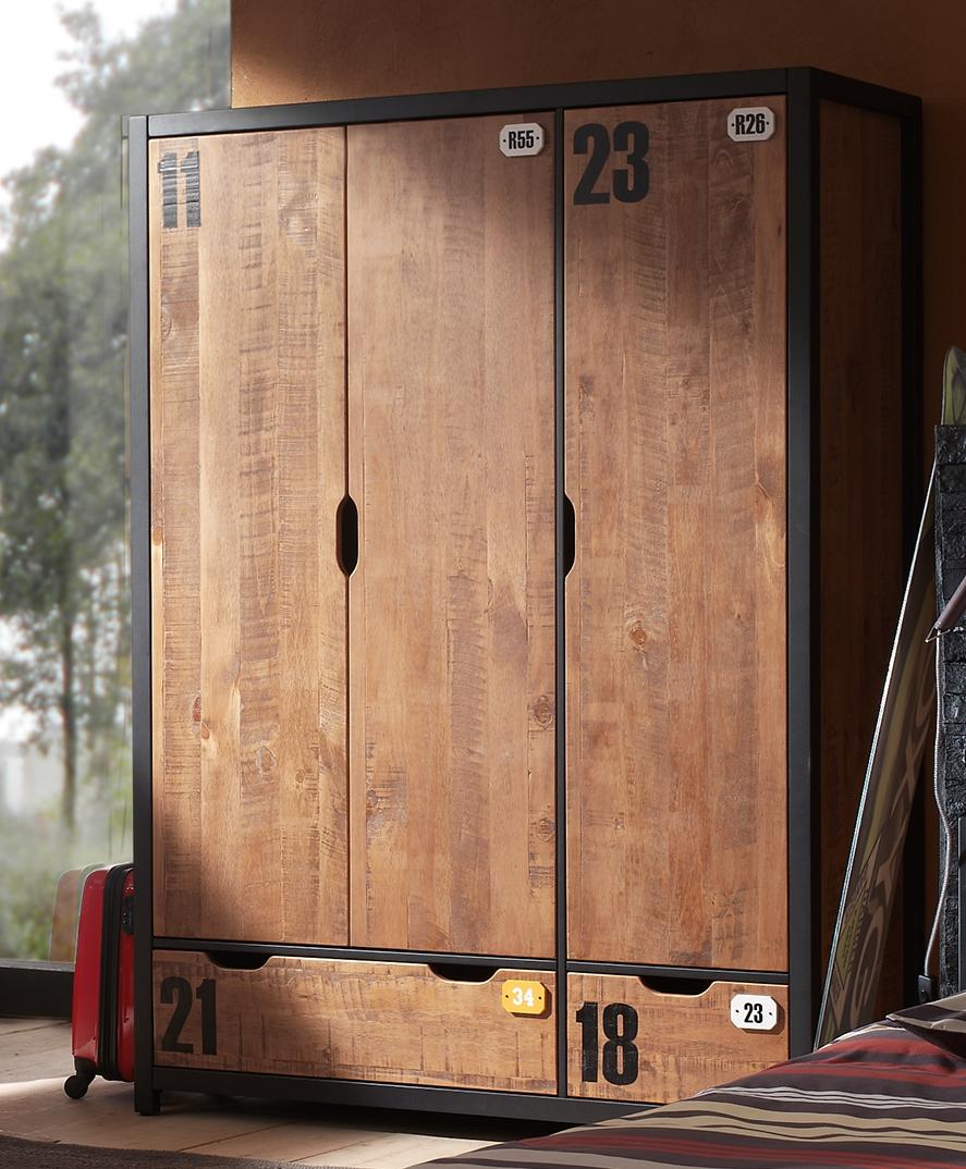 Kleiderschrank Alex 3-türig aus Massivholz