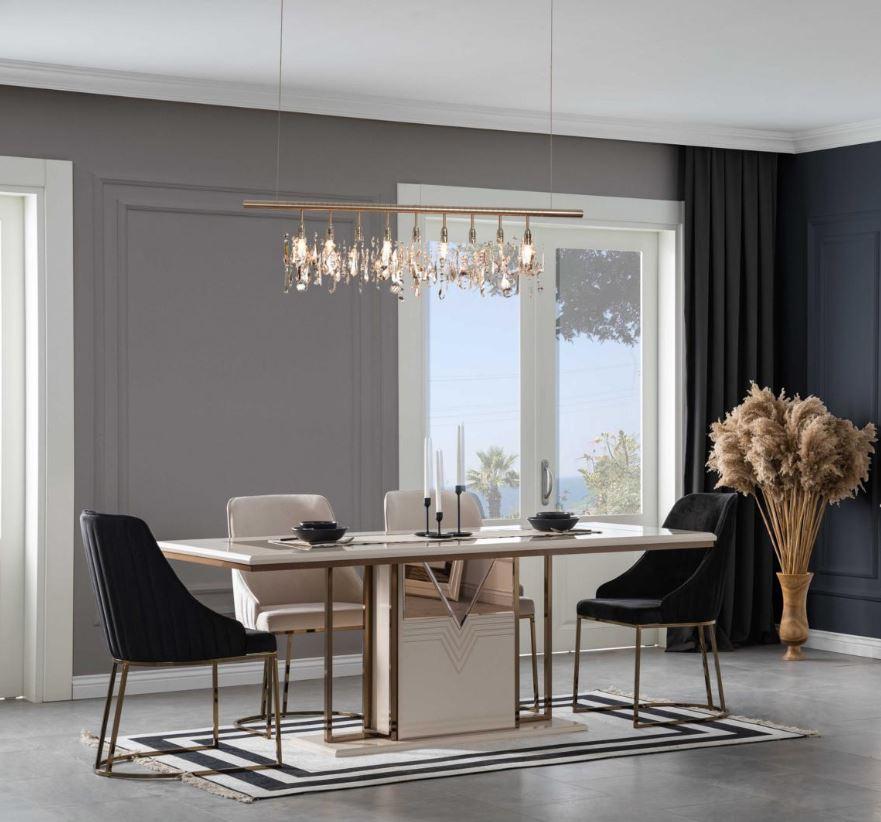 Lidya Tischgruppe Collvan mit 6 Stühlen in Creme