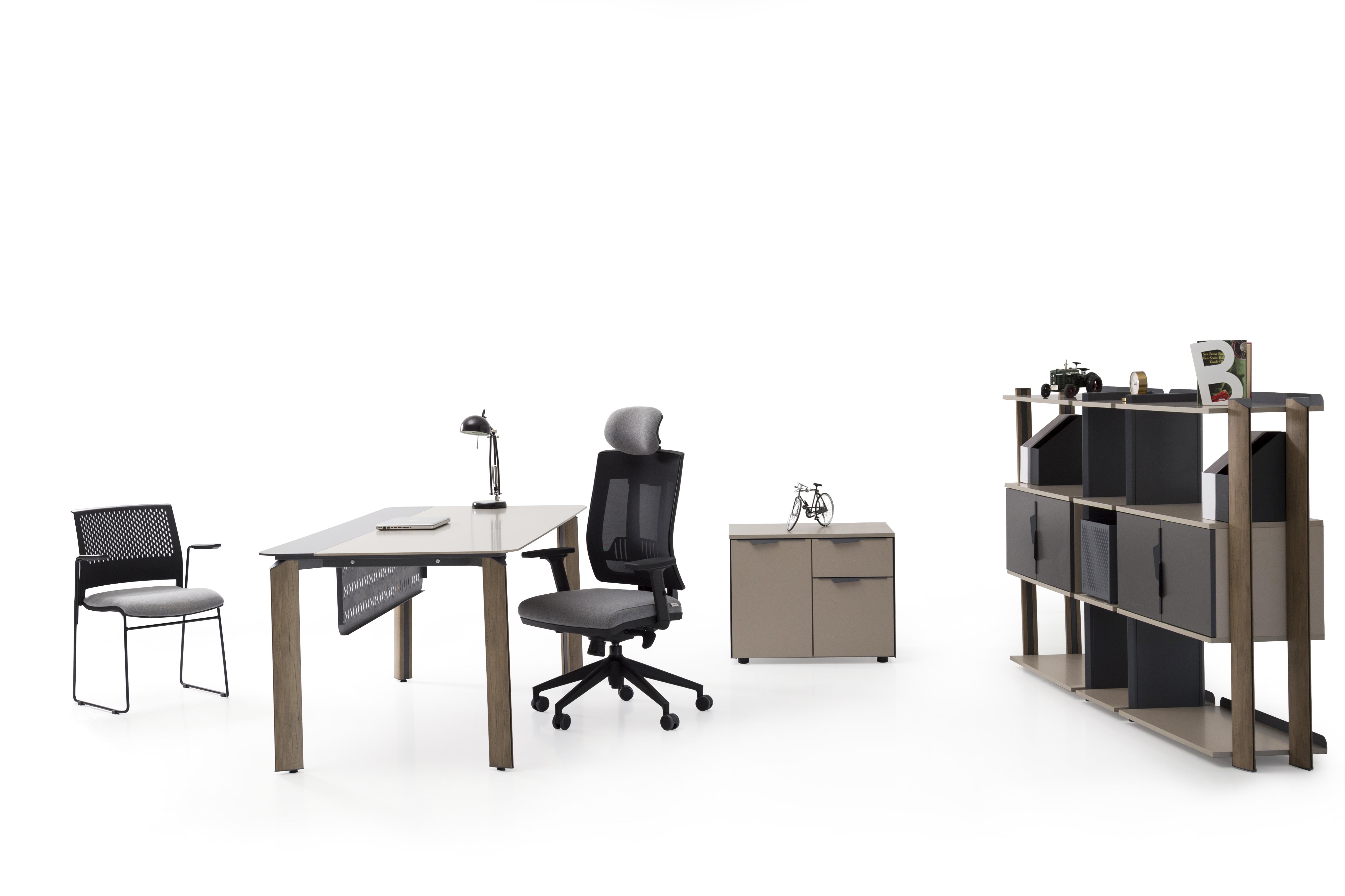 Ovali Schreibtisch Set 3-teilig Twist 200x90 cm
