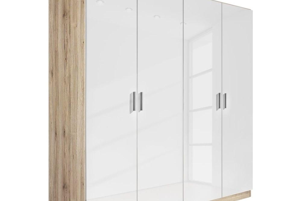 Drehtürenschrank CELLE weiß / Eiche Sonoma 181 x 197 x 54 cm