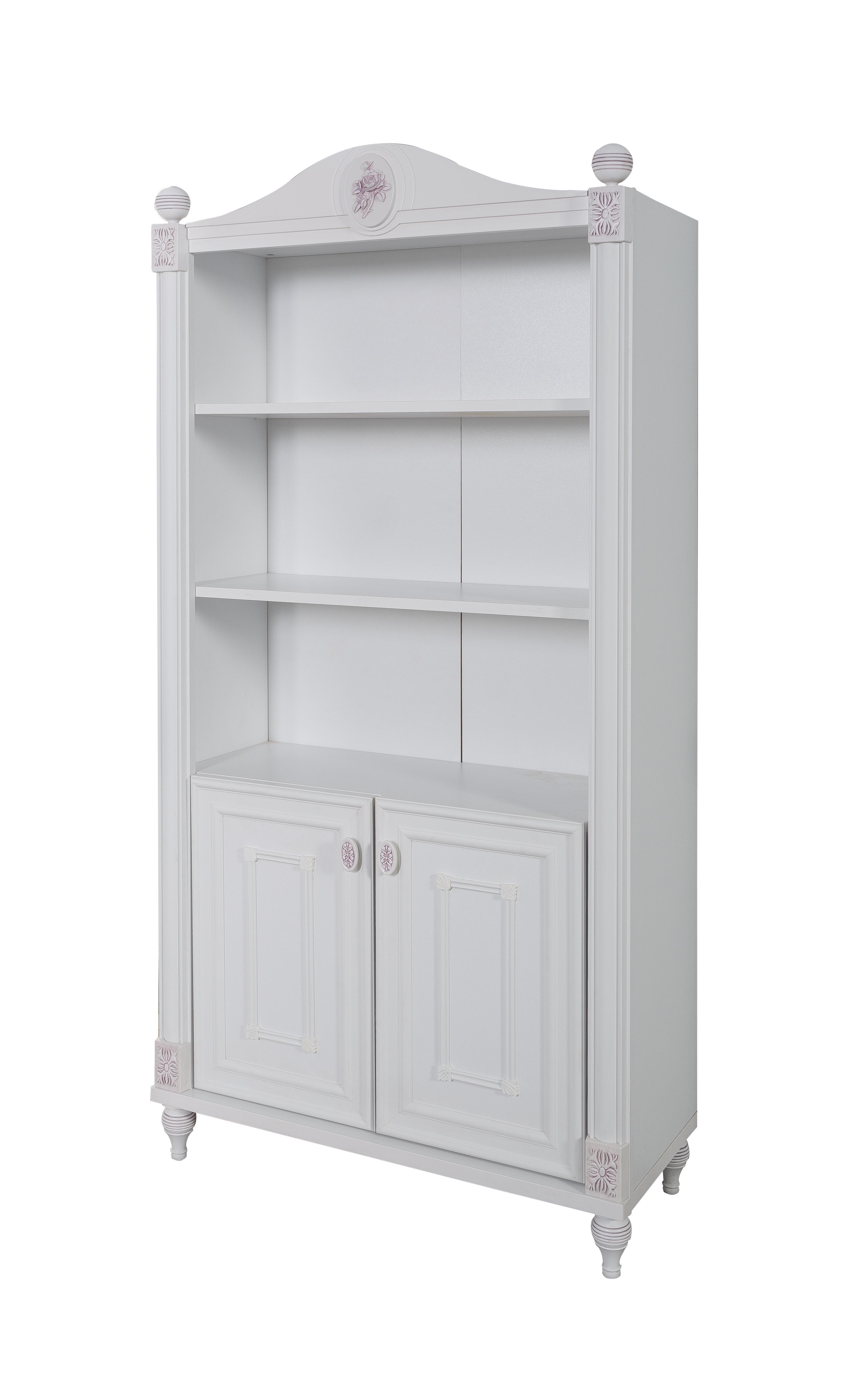 Titi Bücherregal in Weiß Goldi mit viel Stauraum 2-türig