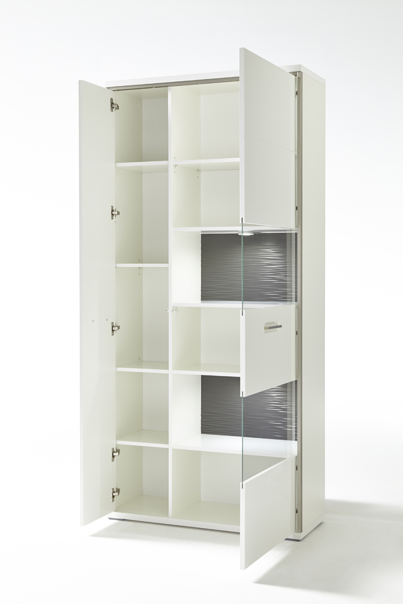 Wohnwand Fillipe 5-teilig in Weiß Hochglanz