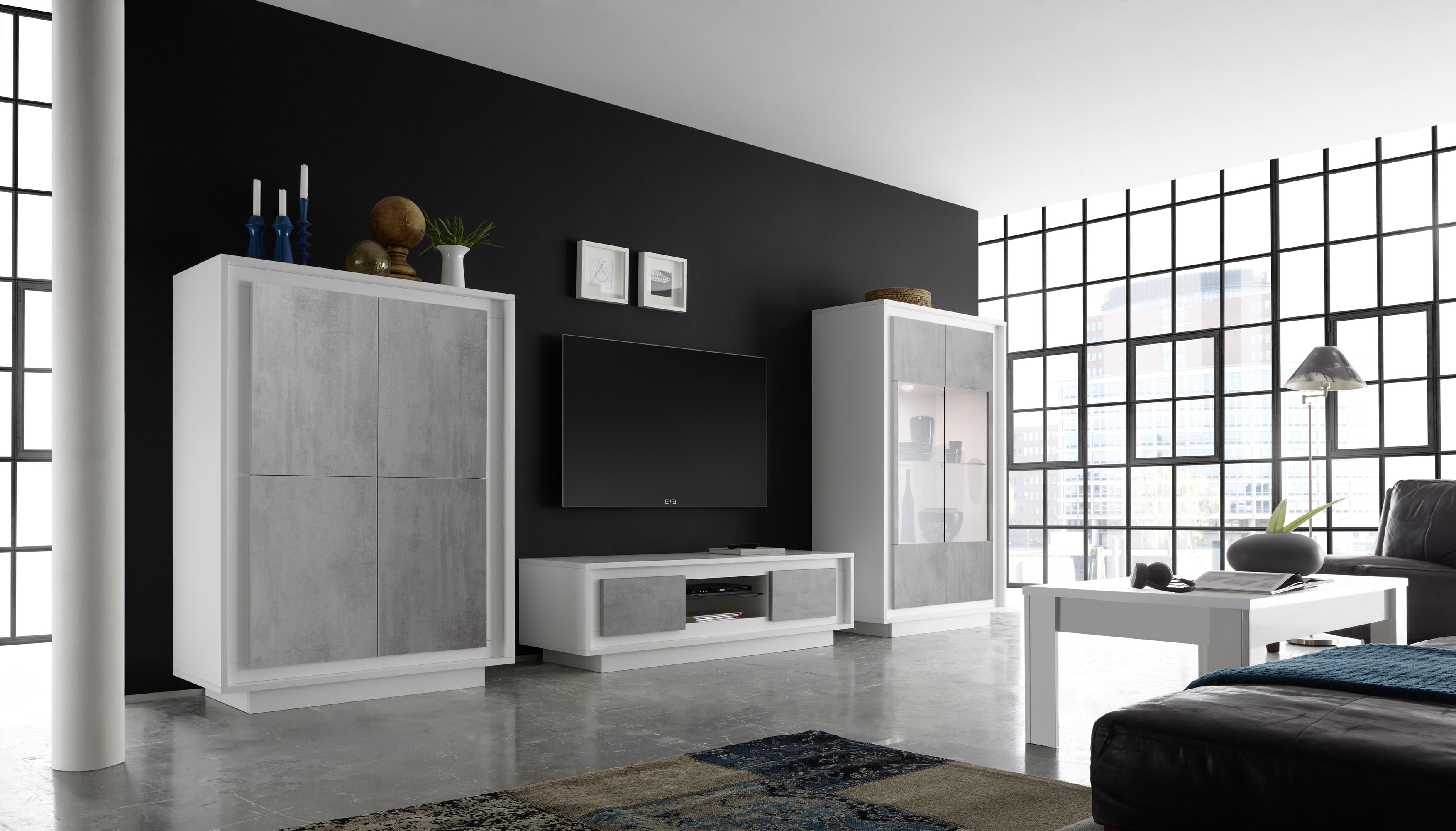 Heaven Wohnwand 3-teilig Weiß Beton