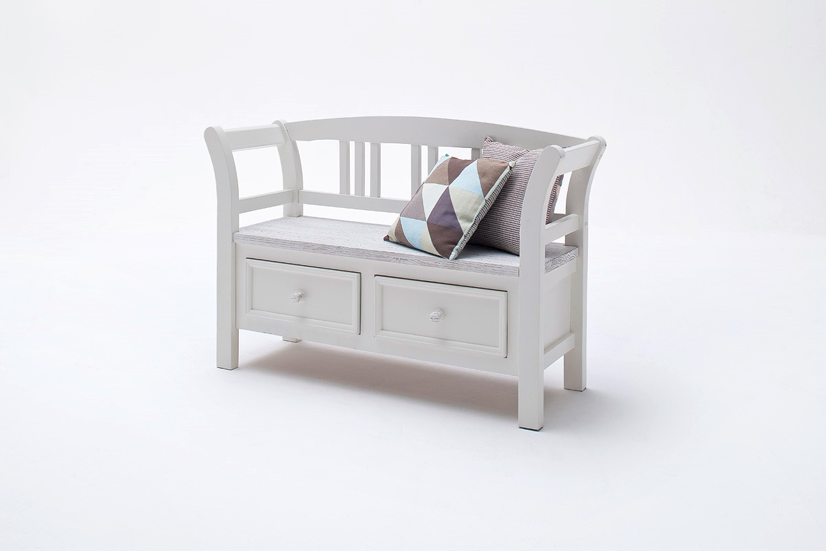 Olio Sitzbank mit 2 Schubkästen Kiefer Weiß Sanded
