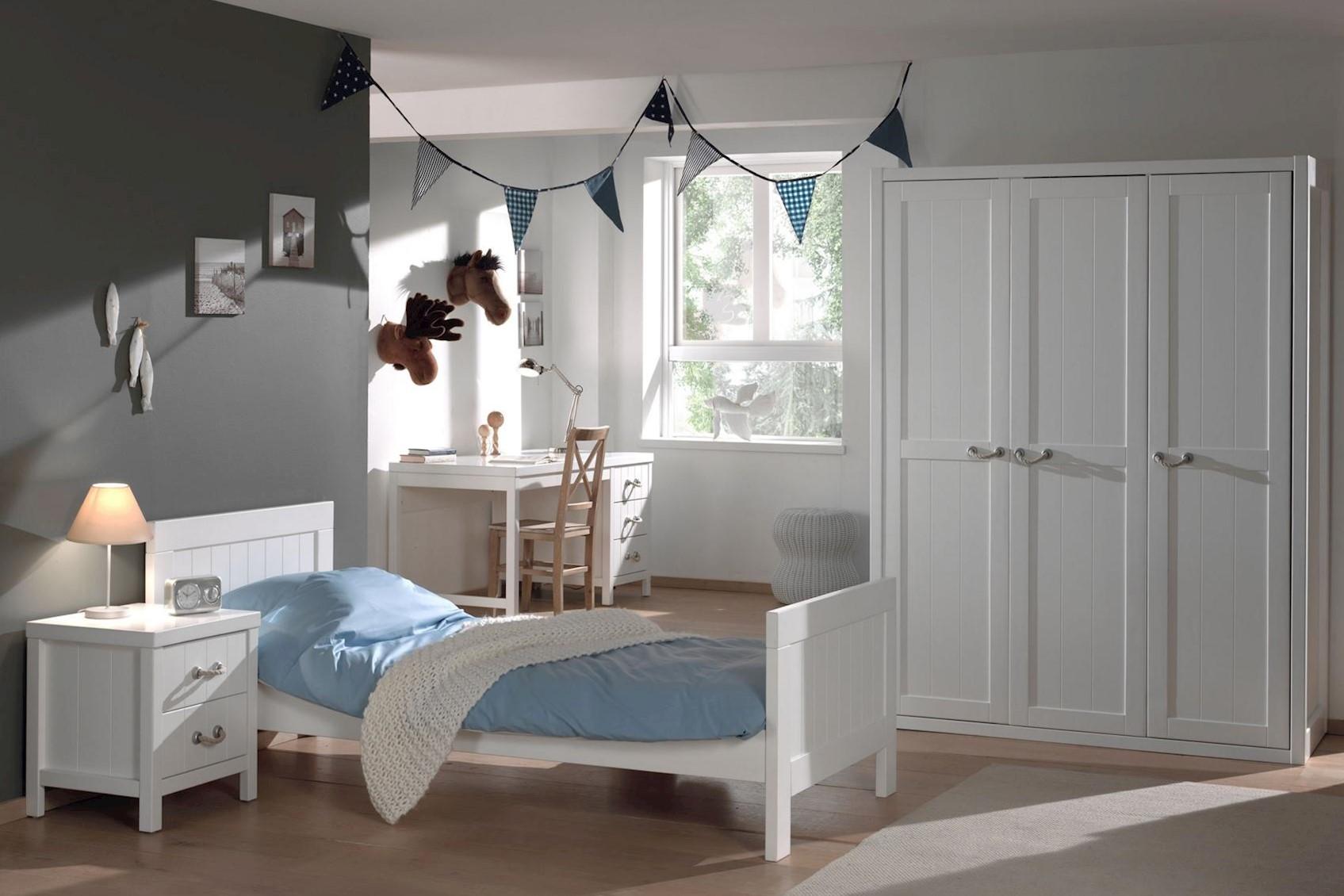 Jugendzimmer komplett Set Iny 4-teilig in Weiß MDF