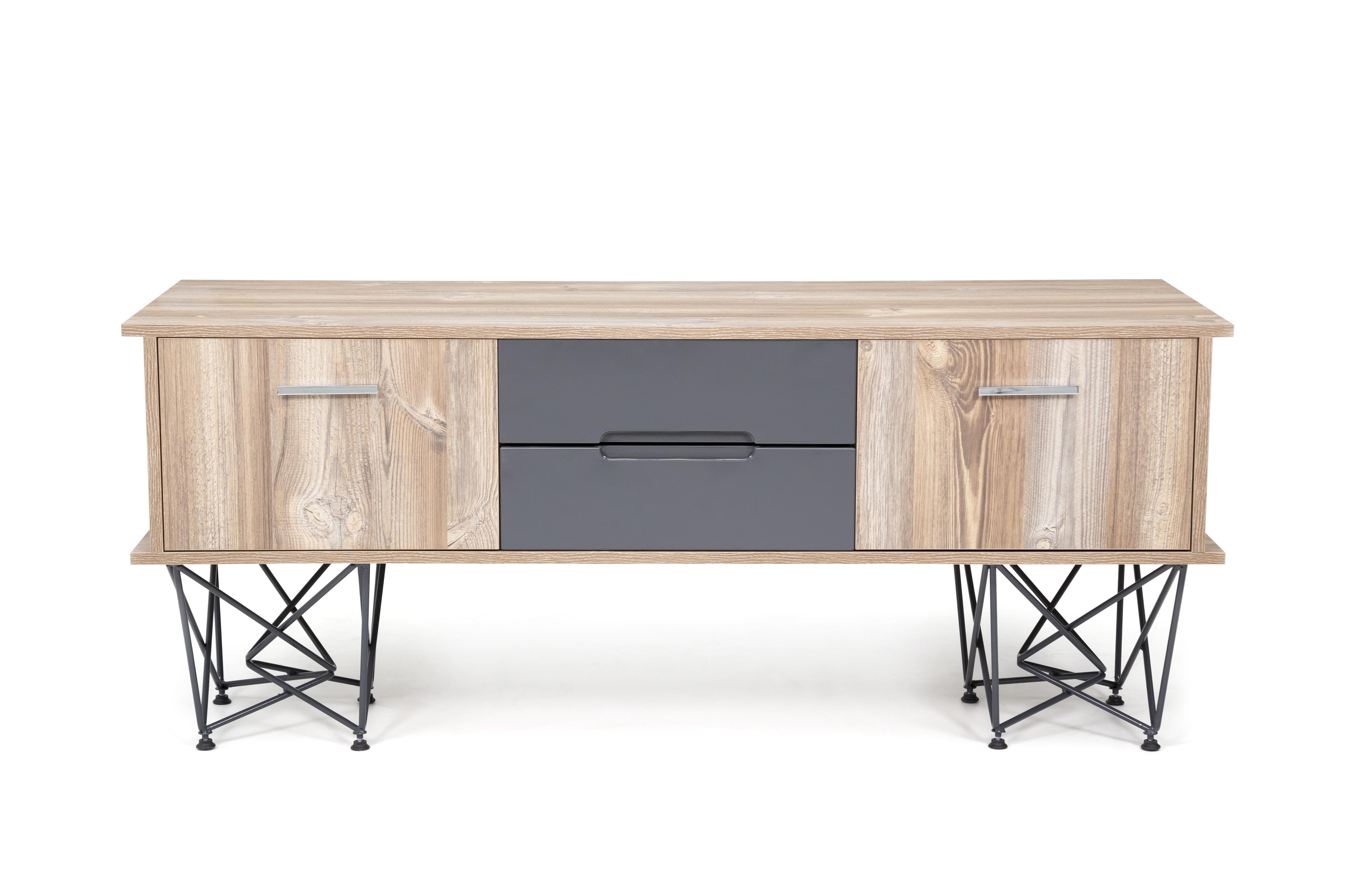 Ovali Sideboard 2-türig Parantez Holzoptik