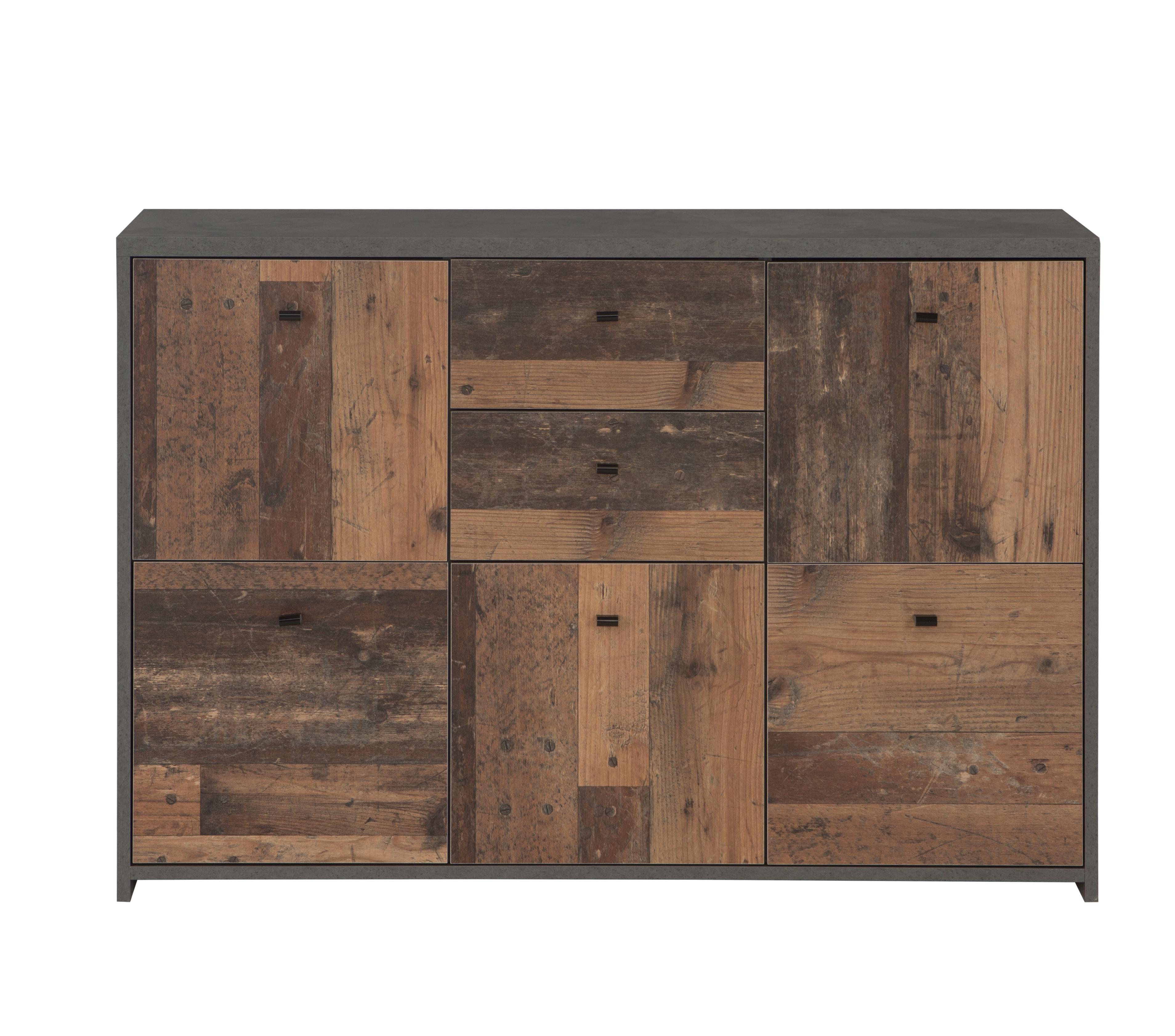 Sideboard Beton-Holz Optik Chesto 5-türig