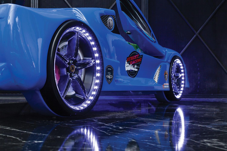 Autobett GT 999 AERO Blau mit Türen und Sportsitzen