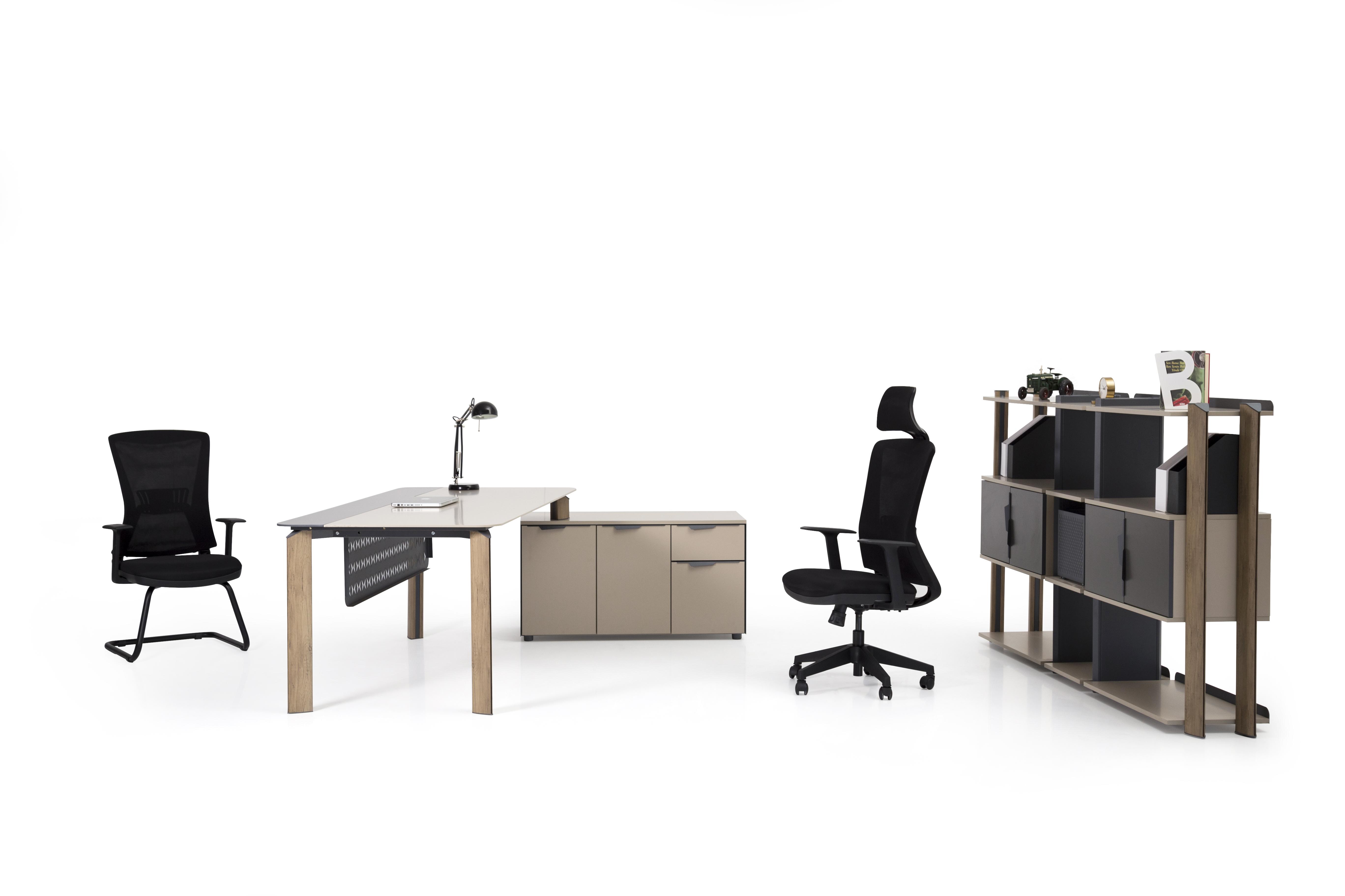 Ovali Schreibtisch Set 3-teilig Twist L3 200x90 cm