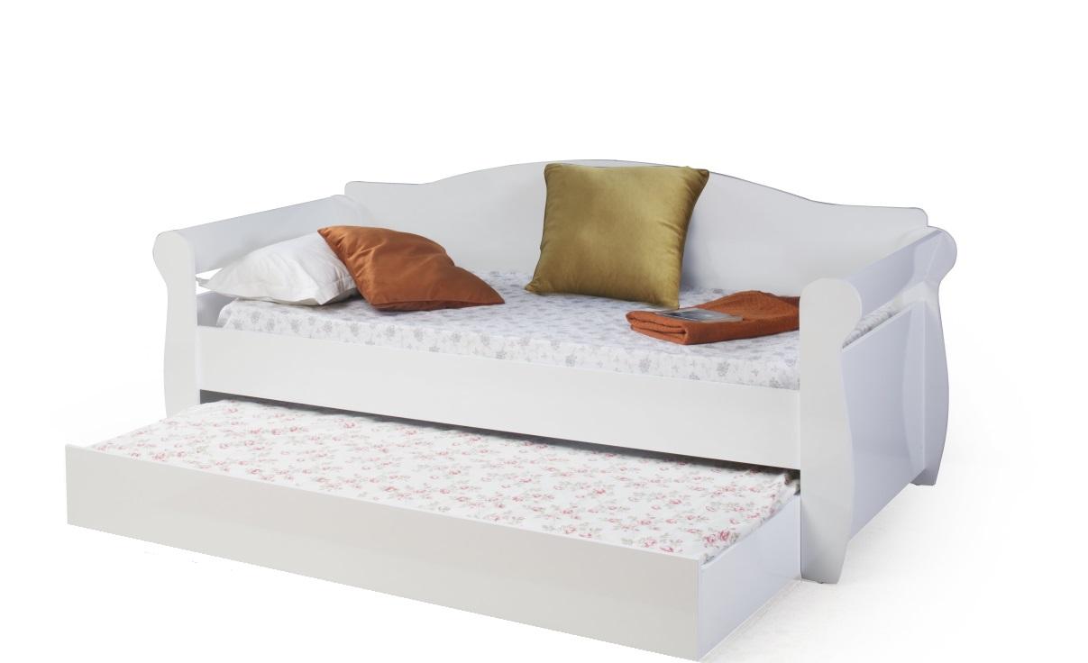 Odacix Jugendbett Taht im Sofa-Look in Weiß