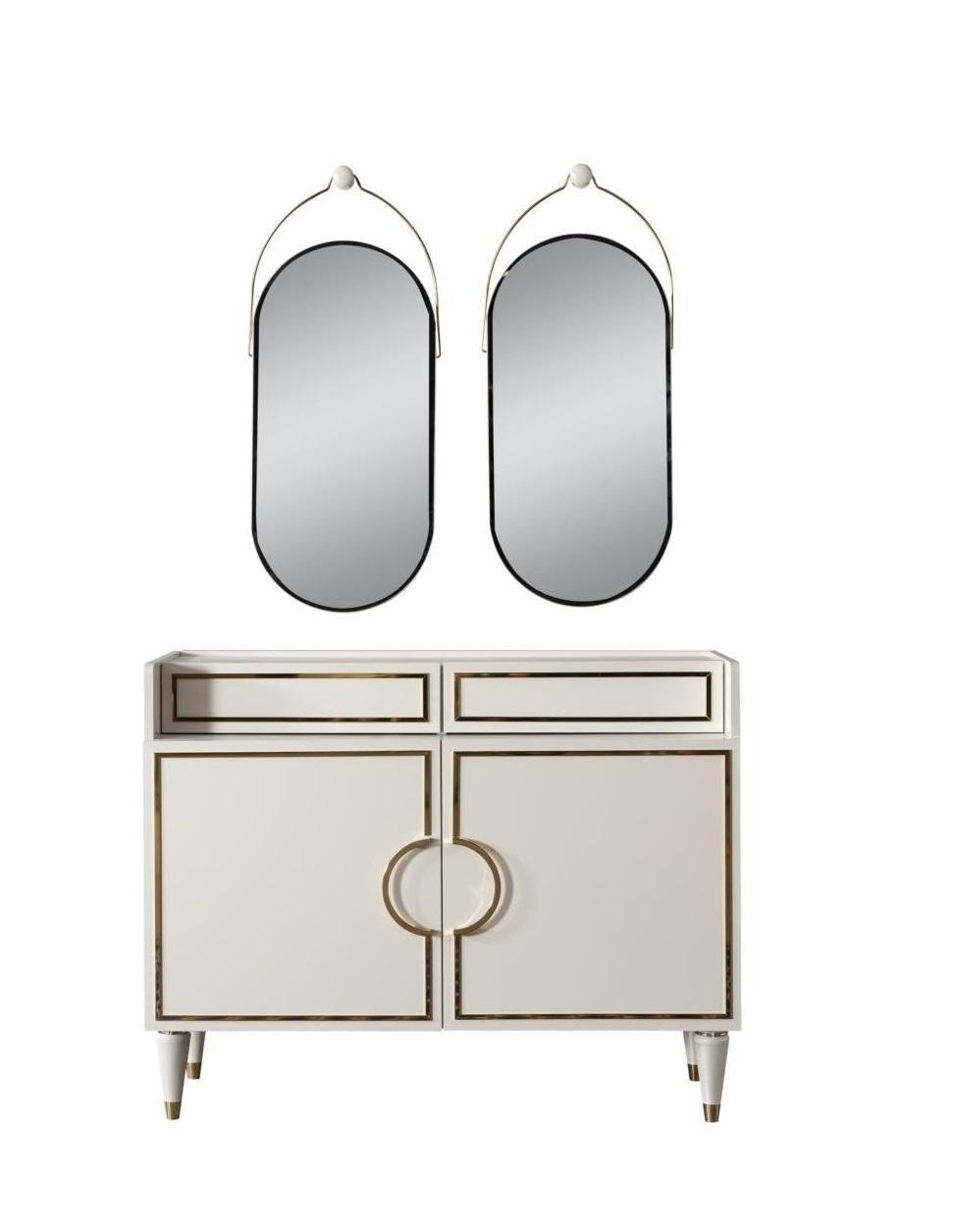 Weltew Kommode mit zwei Spiegel Gino Creme Gold
