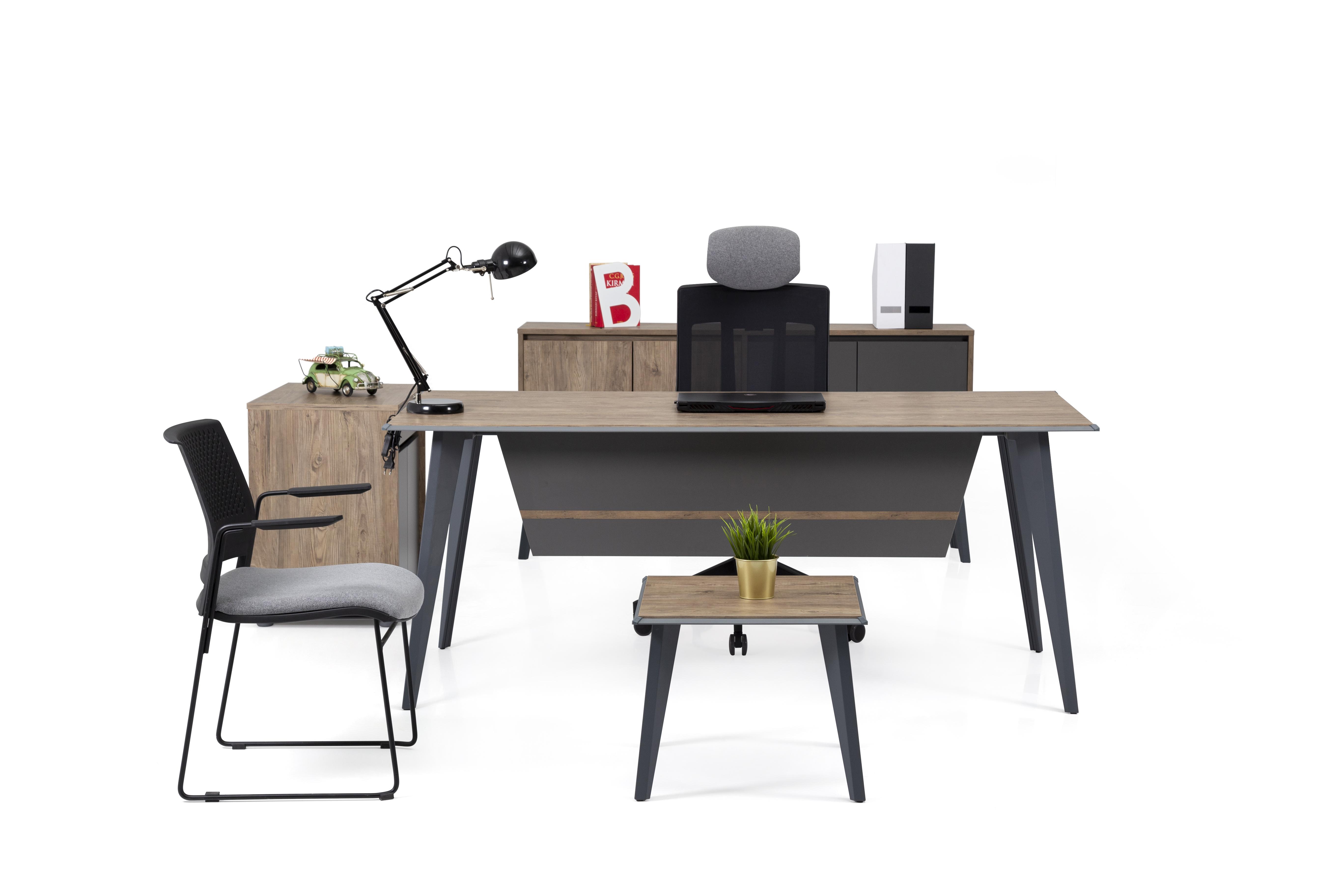 Ovali Büromöbel komplett 4-teilig Eco Grau 140x80 cm