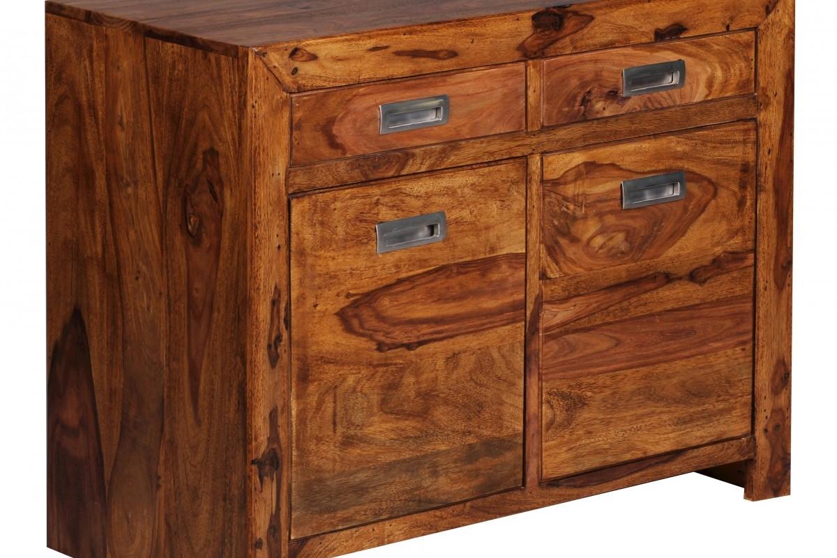 Sheesham Massiv Sideboard 90 x 40 x 70 cm montiert - Massivholz
