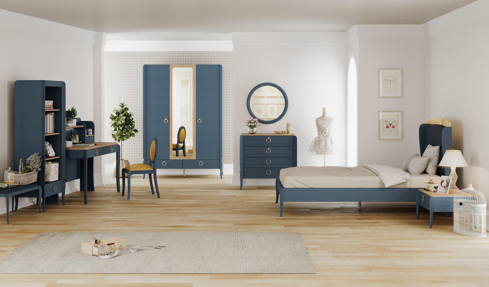 Almila Jugendzimmer komplett Elegant Blue 100x200 cm