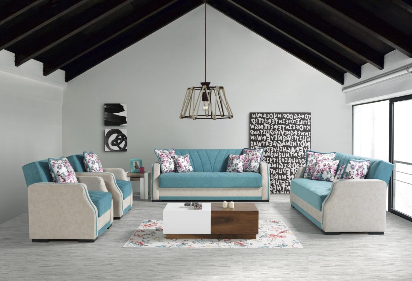 Windy Sofa Garnitur mit Schlaffunktion Blau Cizgi