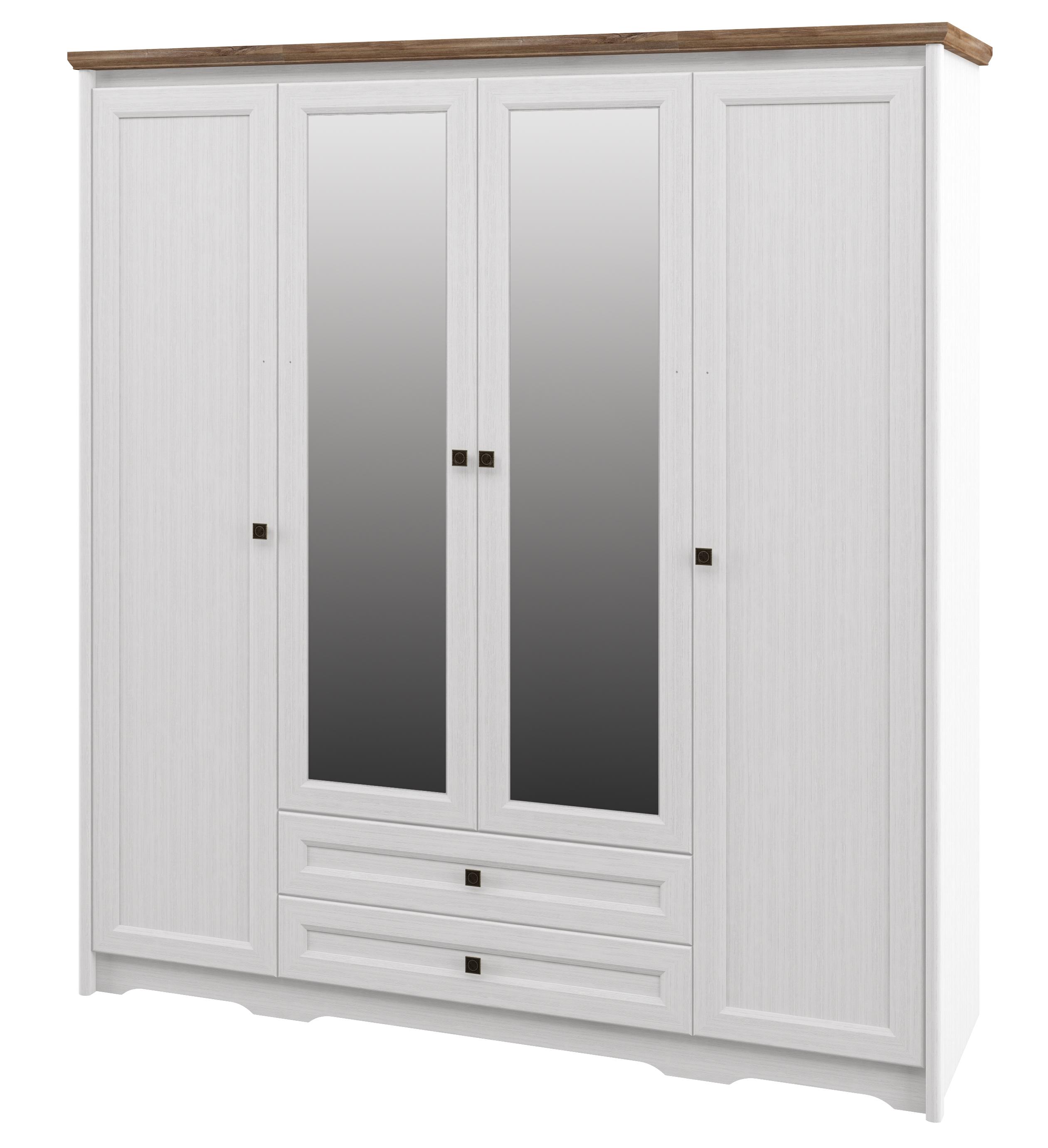 Neman Kleiderschrank 4-türig Tivoli Landhausstil Weiß