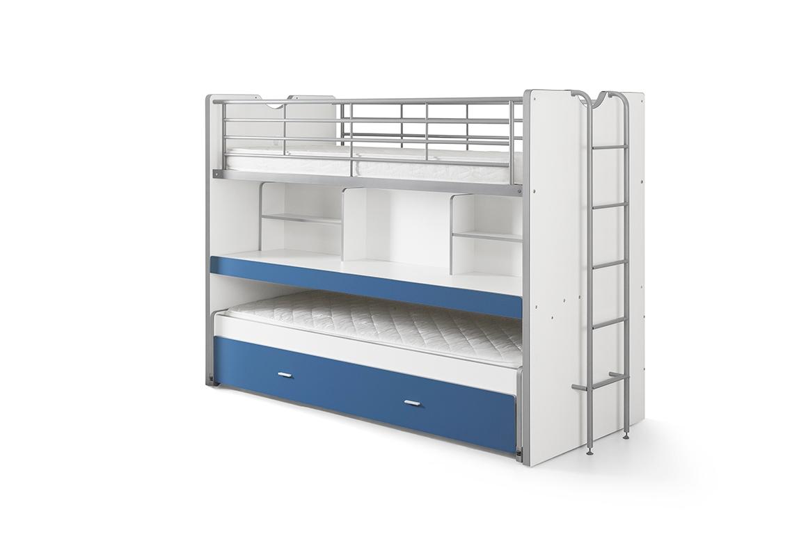 Bonny Hochbett mit Schreibtisch 90x200 in Blau