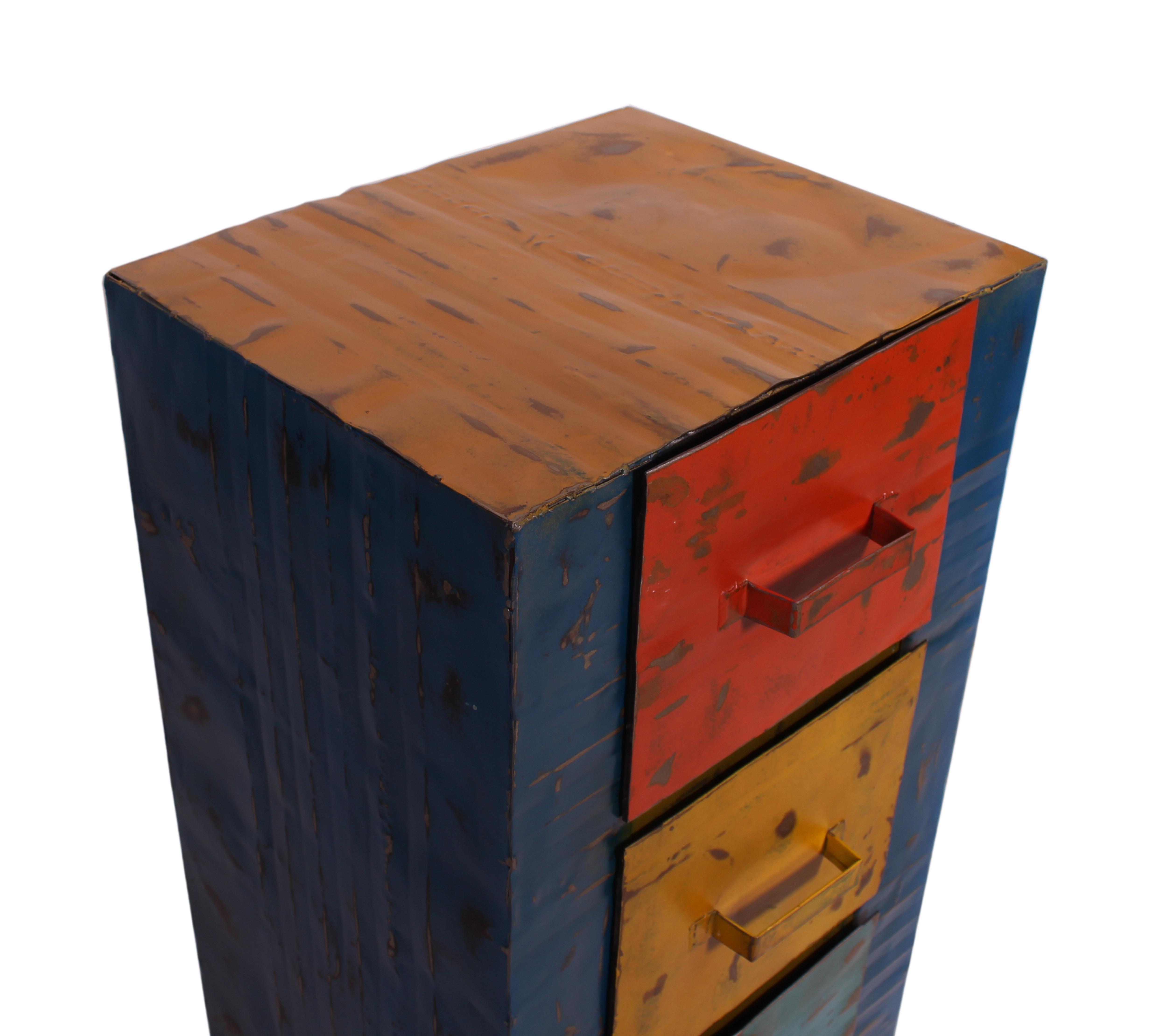 Ölfass Kommode Panum mit 3 Schubladen bunt recycelt