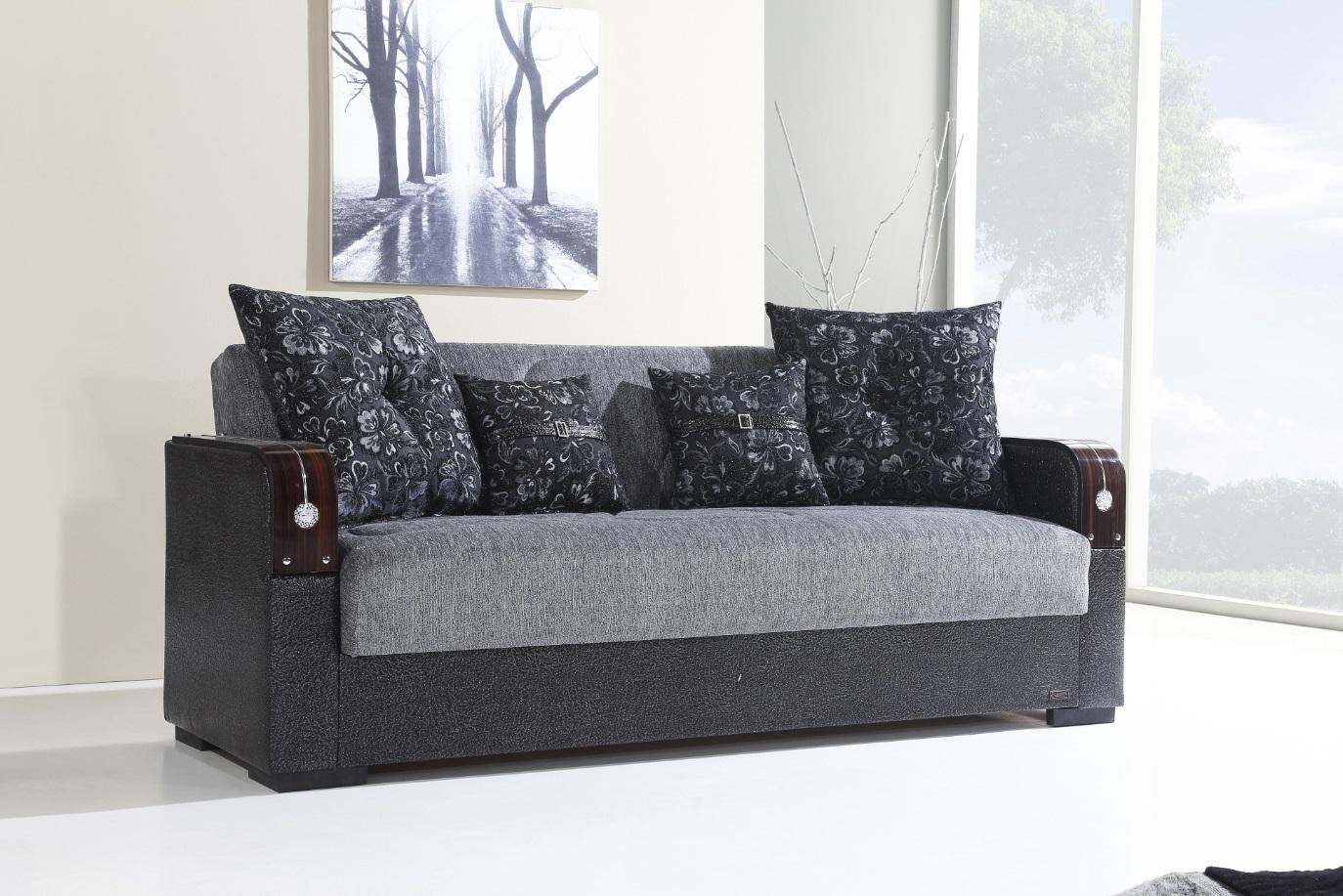 Windy Schlafsofa Misra mit Bettkasten 3-Sitzer Grau