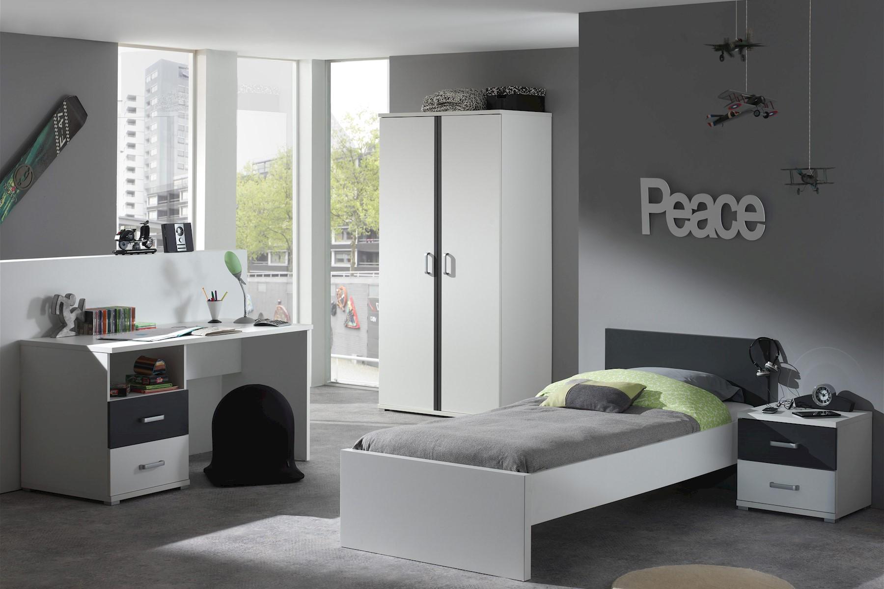 Jugendzimmer komplett Set Linde 4-teilig in Weiß-Anthrazit