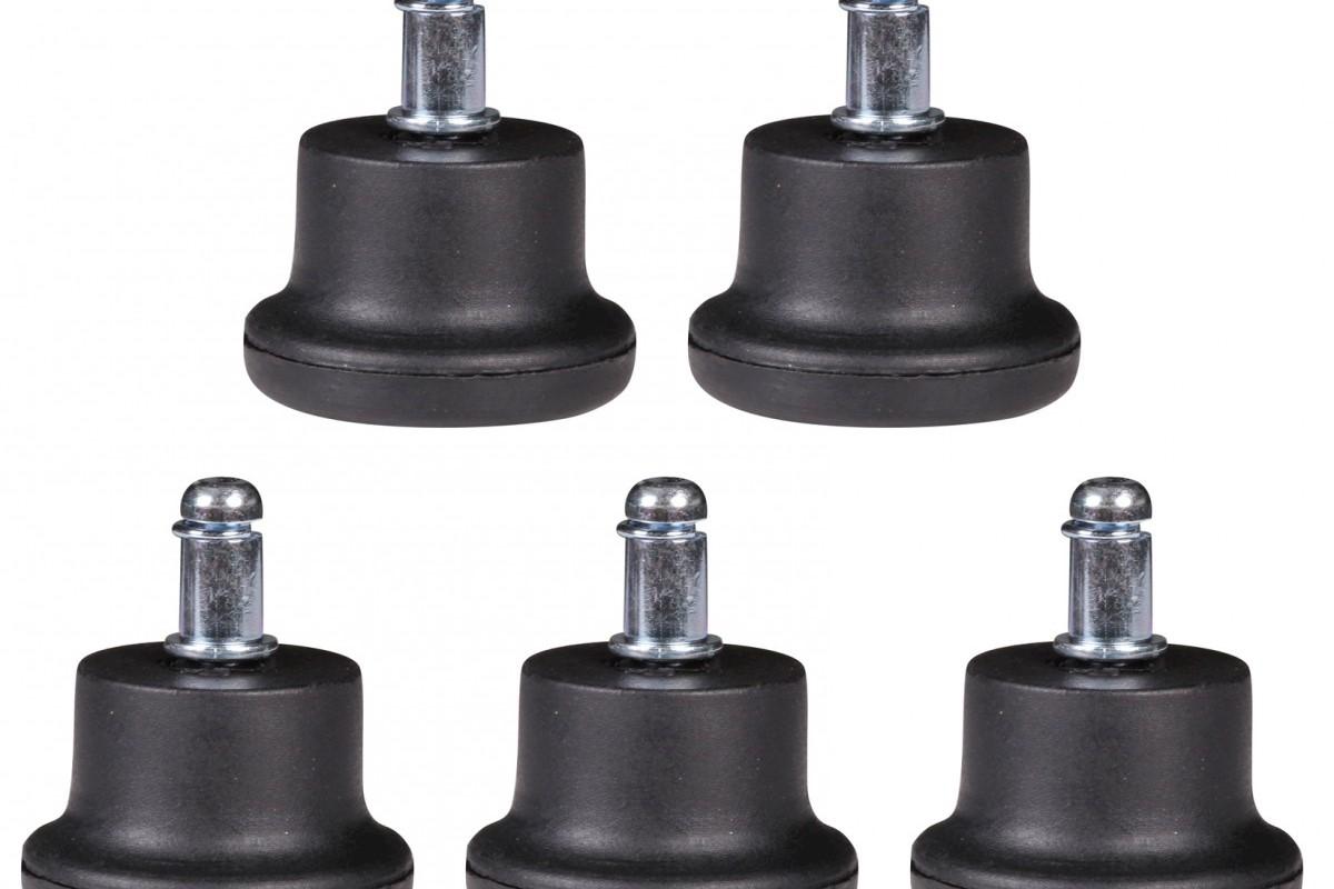 5er Set Bodengleiter / Fußgleiter für Bürostuhl Schwarz 11 mm