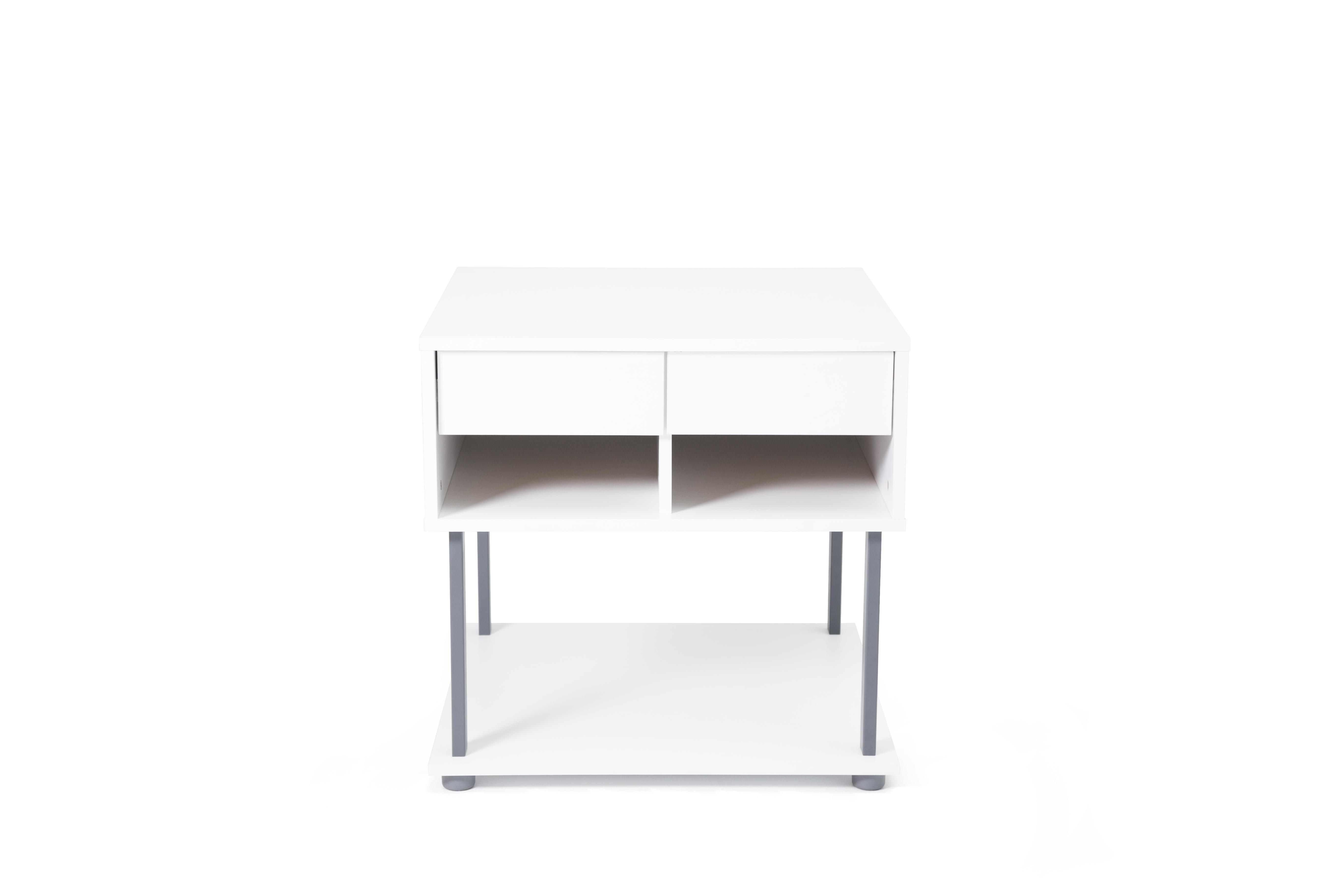 Ovali Büro Kommode 2-türig Ece Weiß Grau