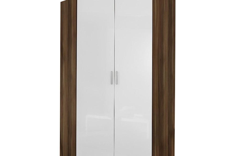 Eckschrank CELLE weiß / Kernnuss 117 x 210 x 117 cm